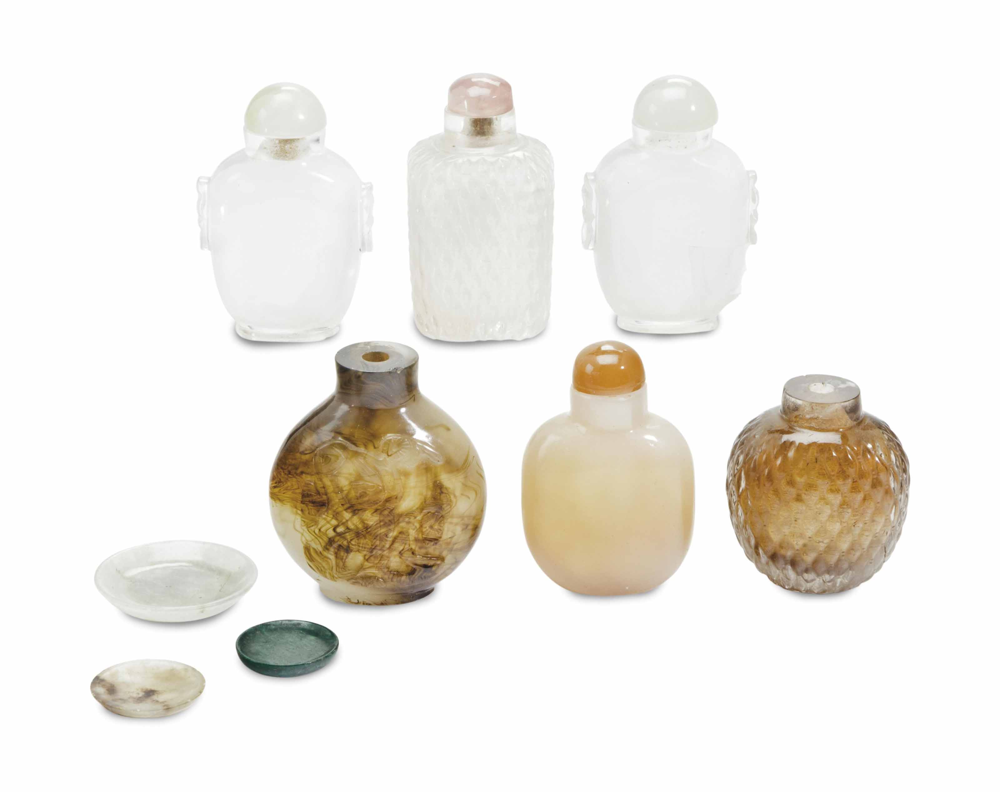 SIX CHINESE HARDSTONE AND GLASS SNUFF BOTTLES, AND THREE HARDSTONE SNUFF DISHES