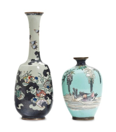 Two Japanese Small Cloisonne Vases 19th20th Century 19th
