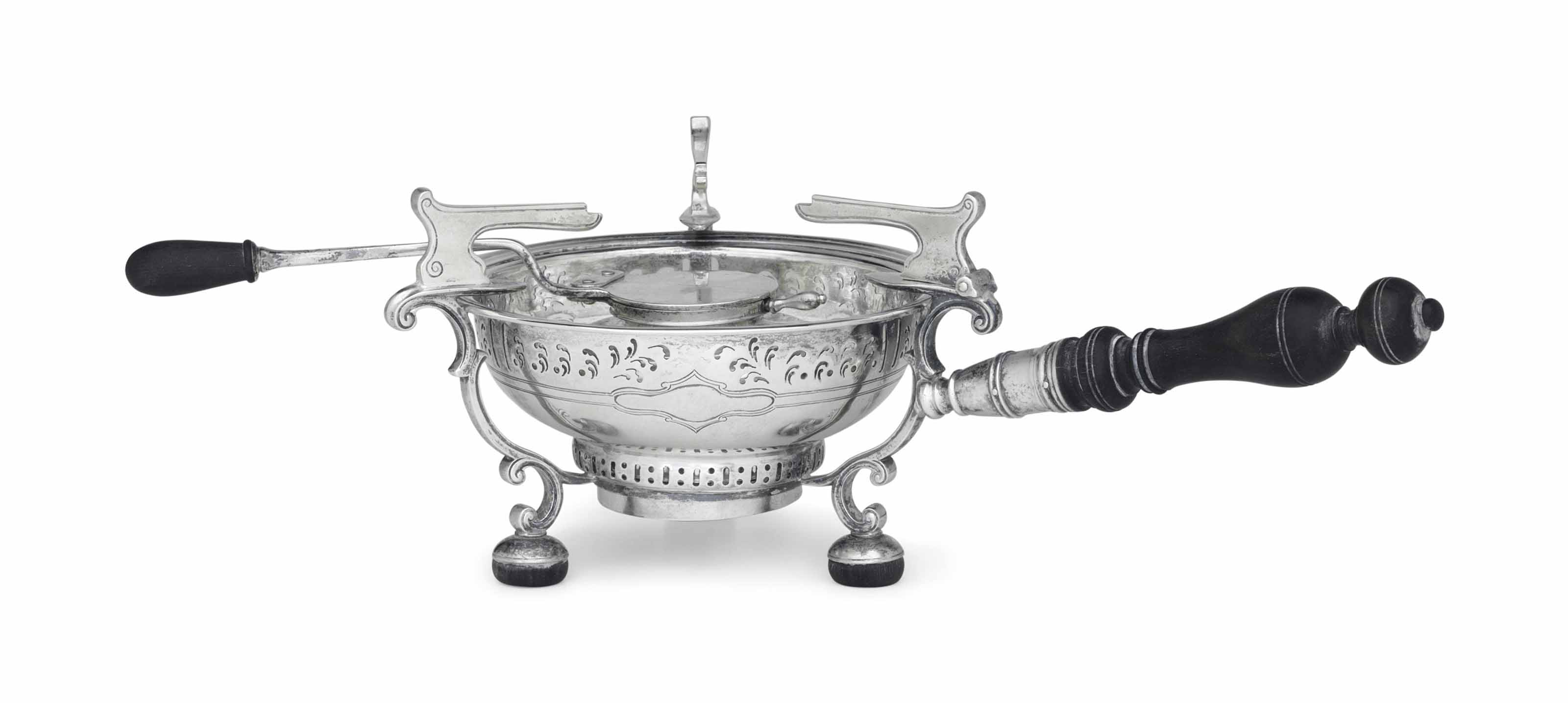 A COLONIAL REVIVAL SILVER CHAFING DISH