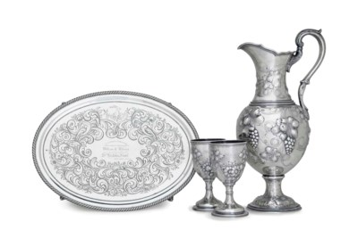 A SILVER WATER SET