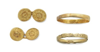 TWO GOLD MOURNING RINGS AND A