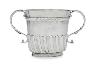 A SILVER TWO-HANDLED CUP FROM