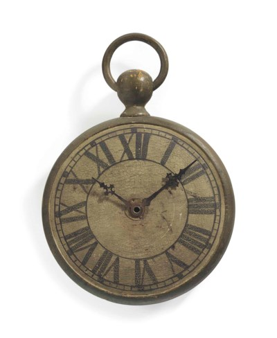 A PAINTED WOODEN POCKET WATCH