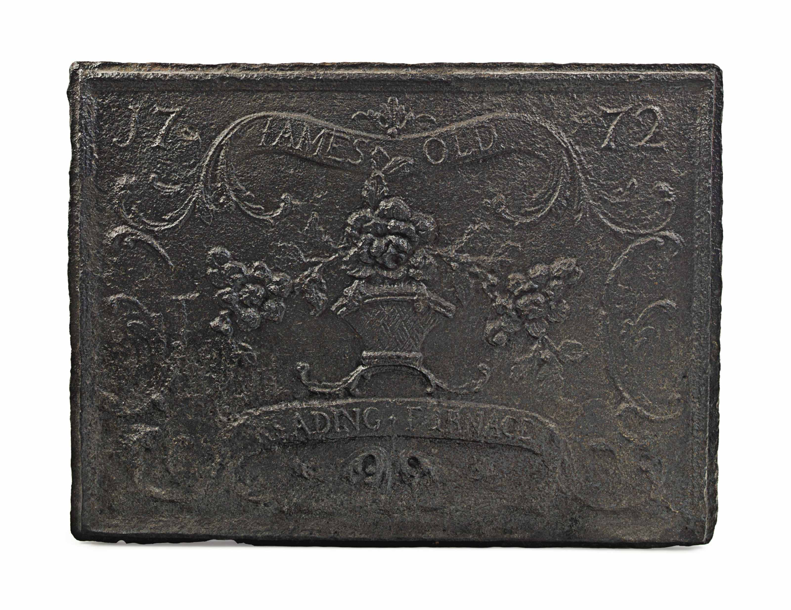 A CAST IRON STOVE PLATE