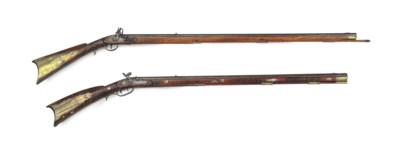 TWO BRASS-MOUNTED MAPLE LONG R