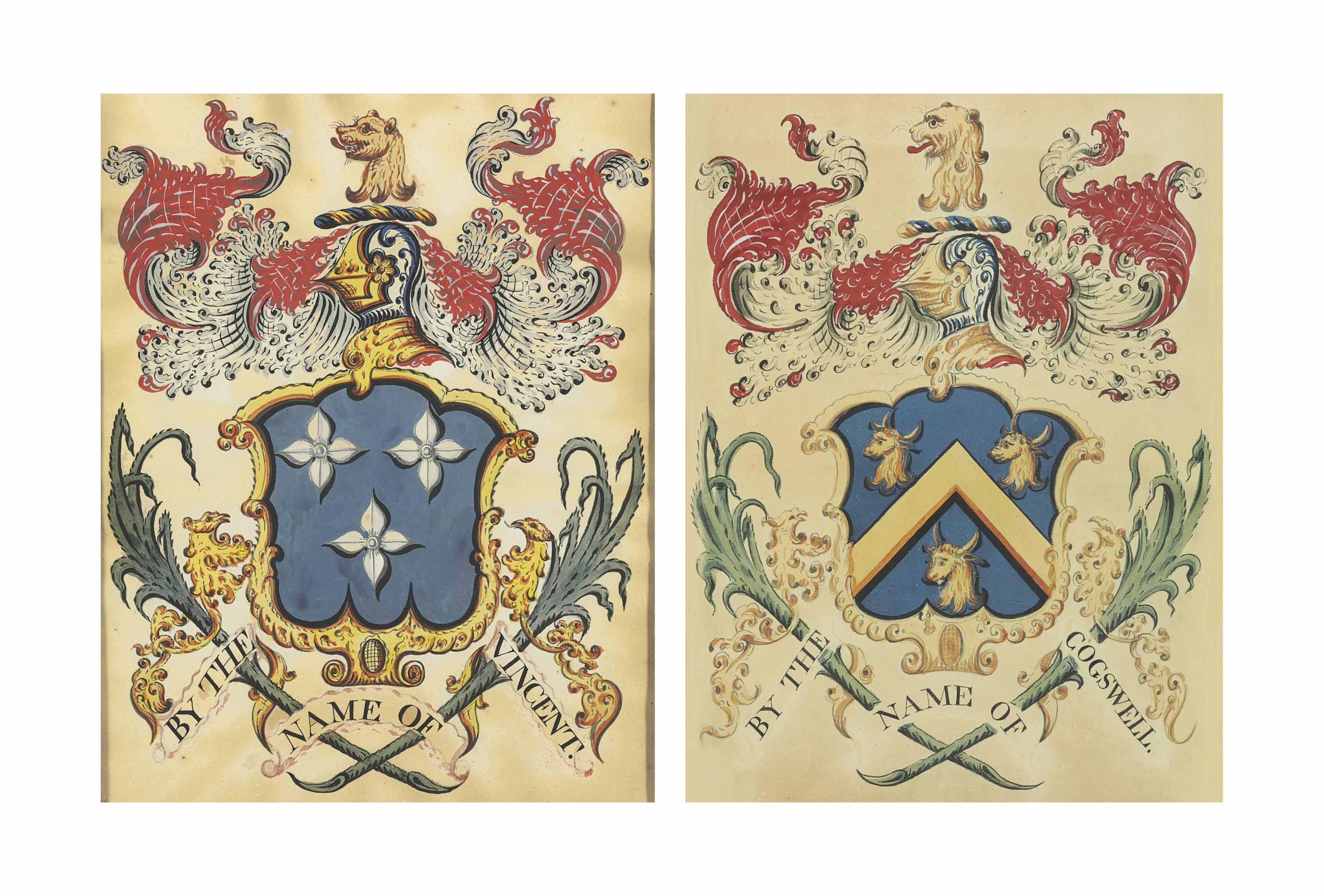 TWO WATERCOLOR AND GRAPHITE ON PAPER COATS OF ARMS OF THE COGSWELL AND VINCENT FAMILIES