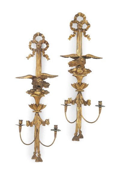 A PAIR OF CARVED GILTWOOD TWO-