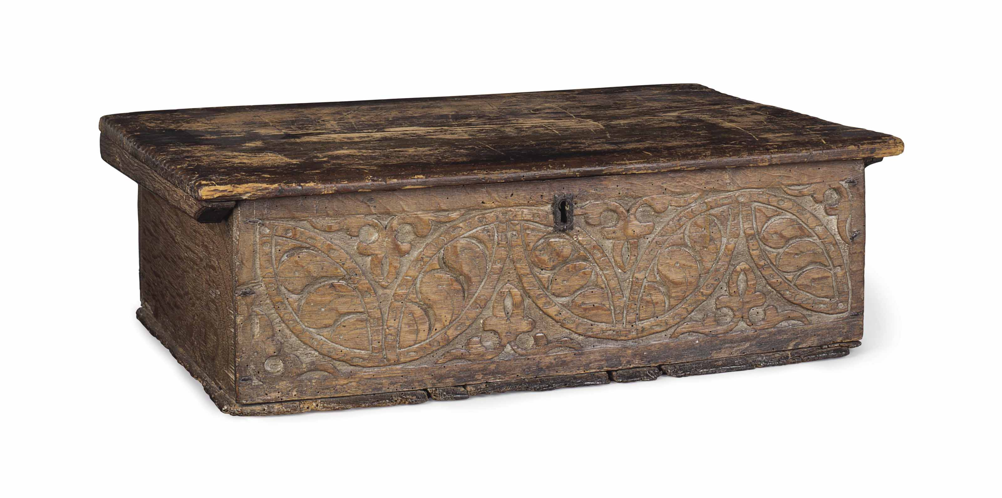 A CARVED OAK AND PINE BIBLE BO