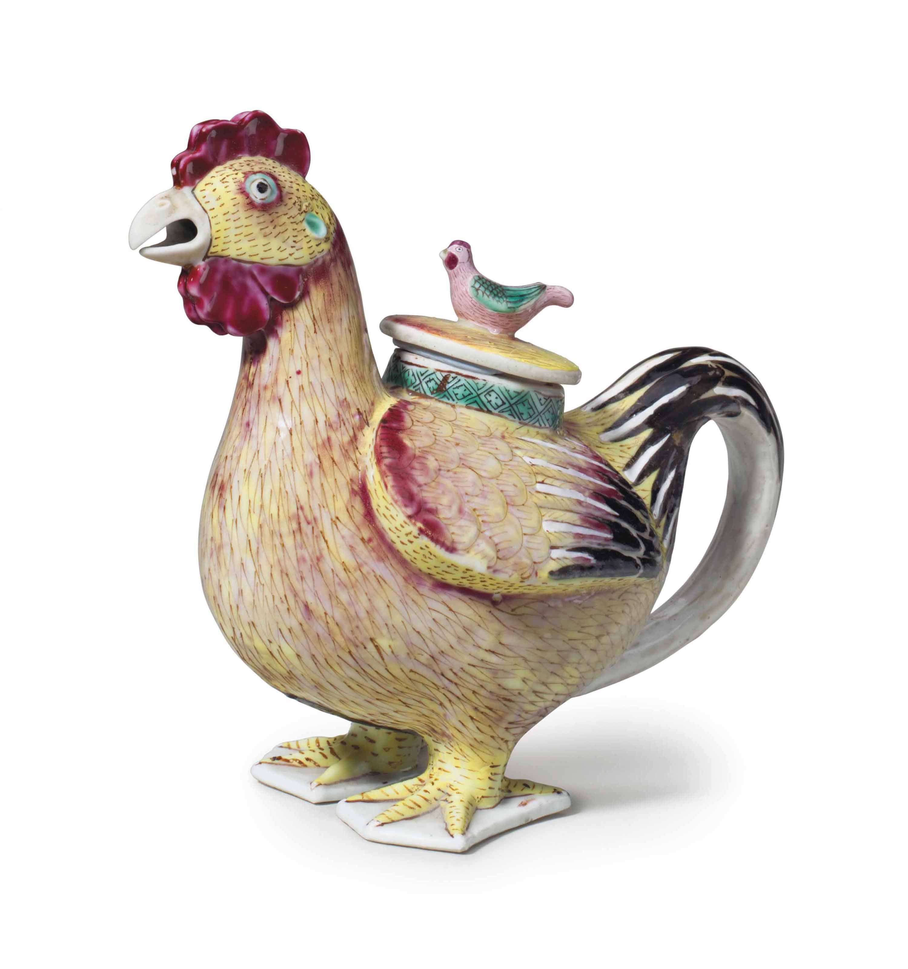 A RARE ROOSTER WINE POT AND CO
