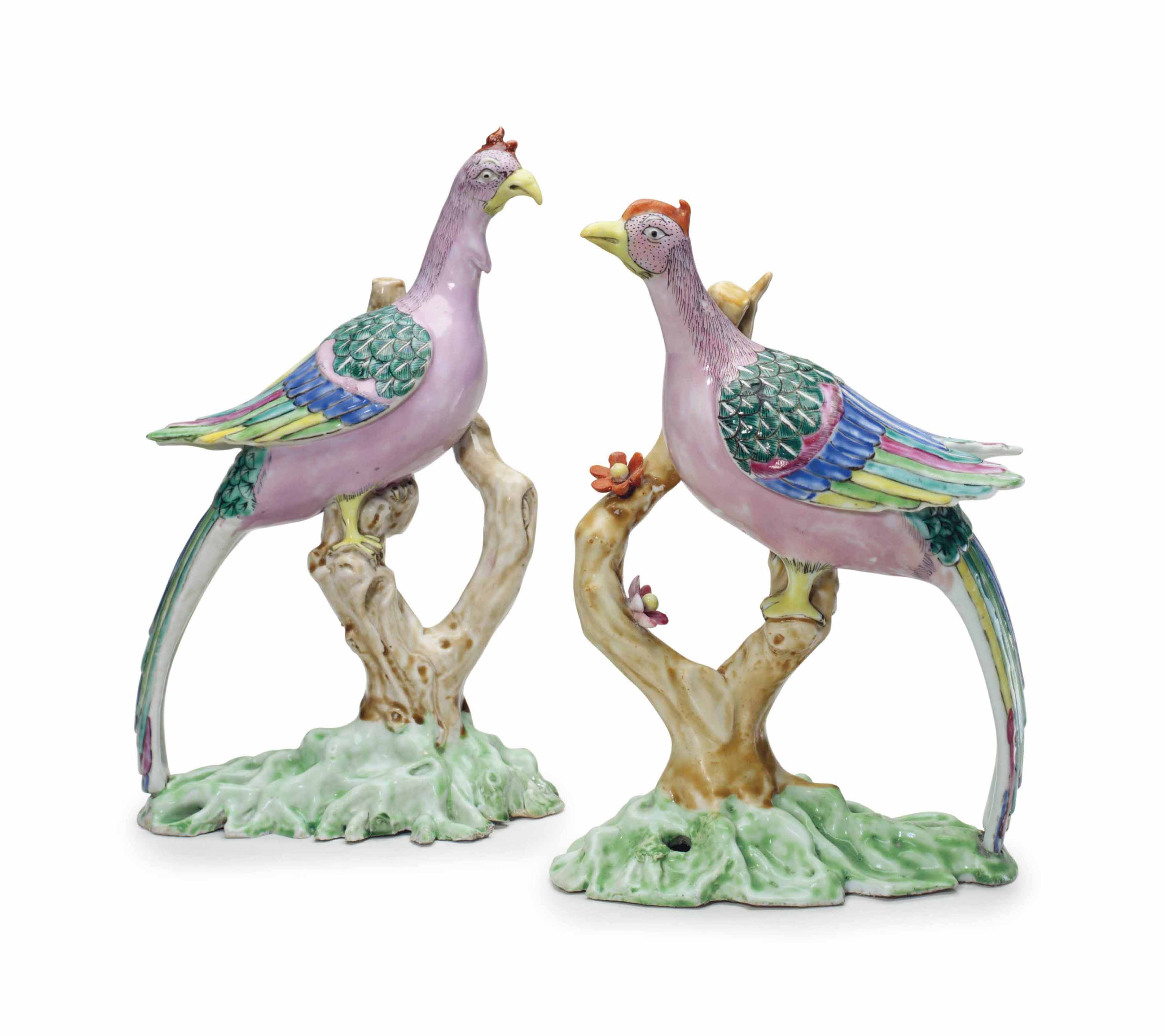 A PAIR OF FAMILLE ROSE LONG-TAILED PHEASANTS