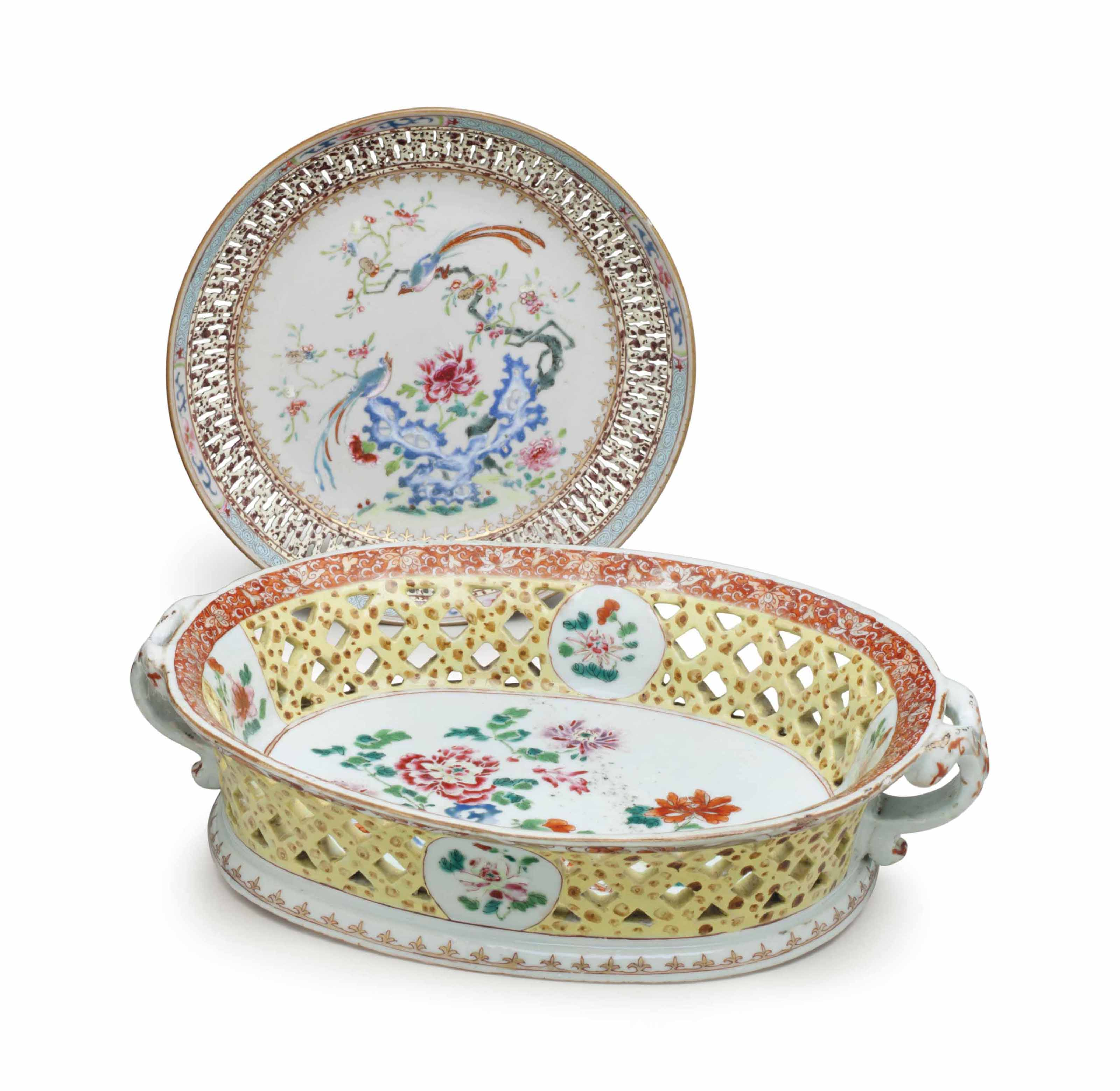 A FAMILLE ROSE TWO-HANDLED OVA