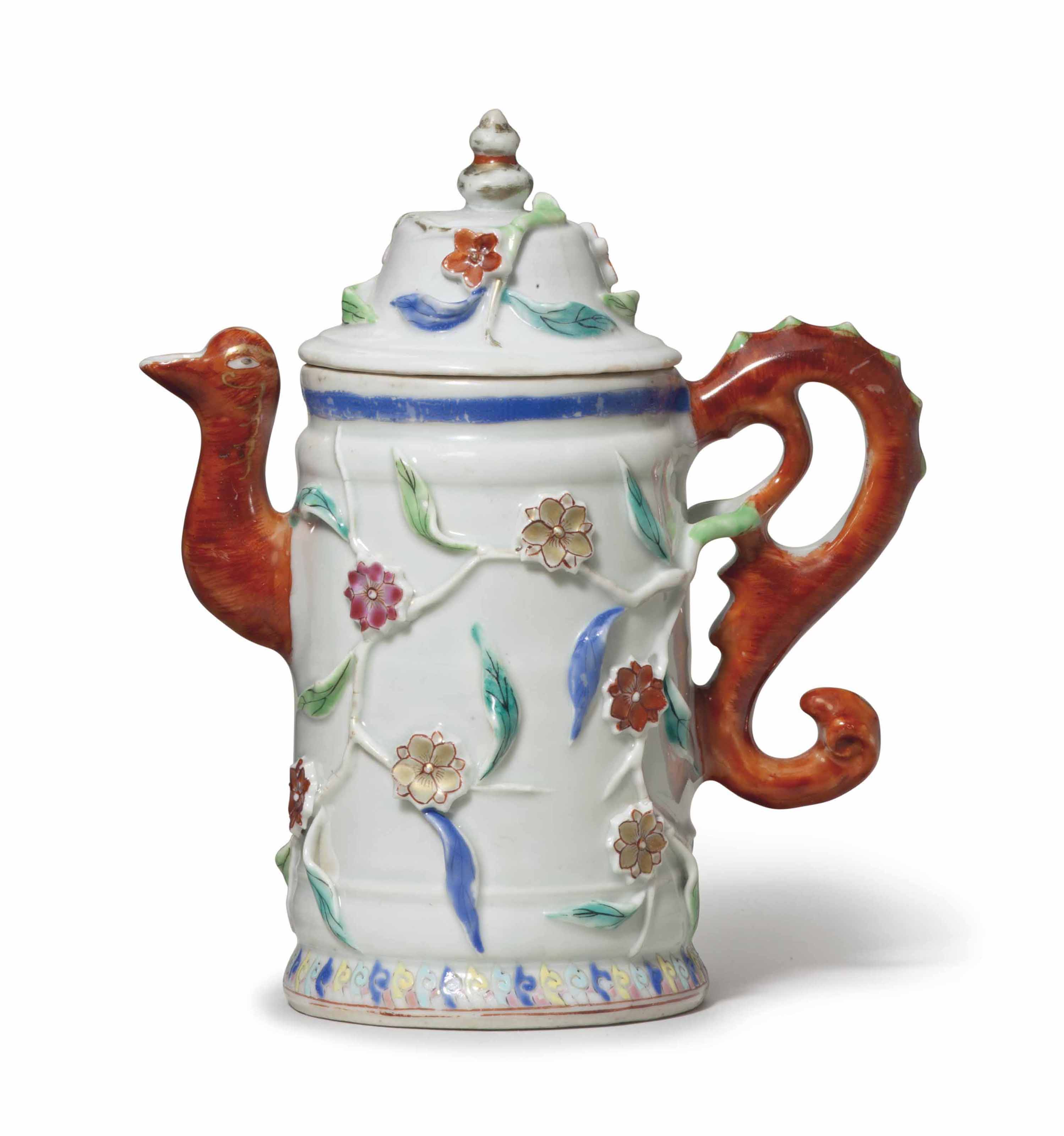 A FAMILLE ROSE WINE POT AND COVER