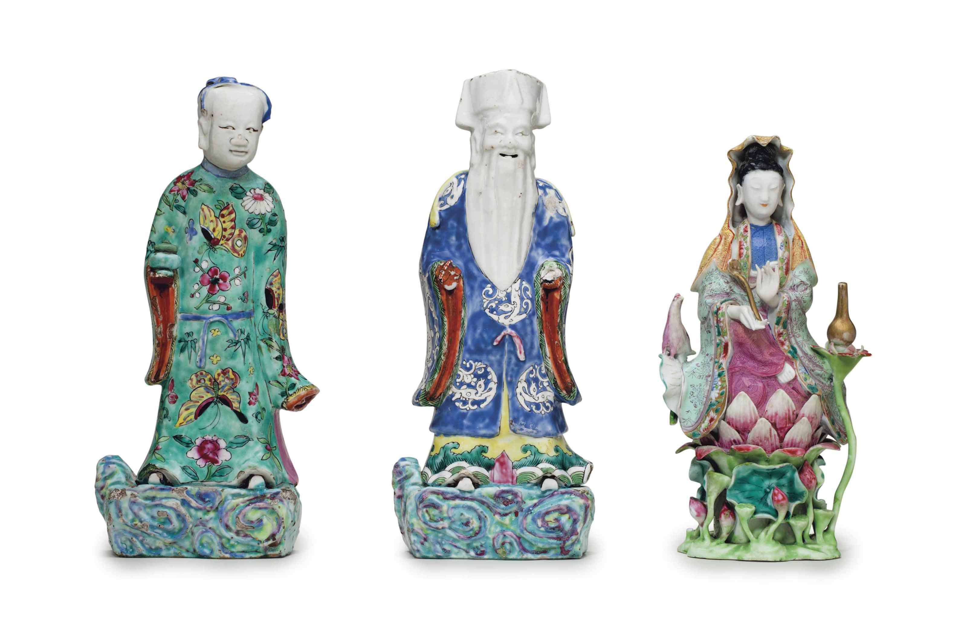 A GROUP OF THREE FAMILLE ROSE FIGURES