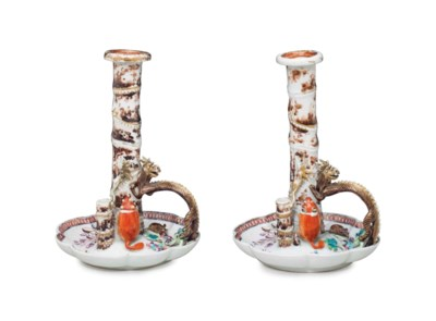 A PAIR OF FAMILLE ROSE CANDLES