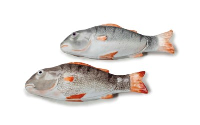 A PAIR OF FISH-FORM BOXES AND