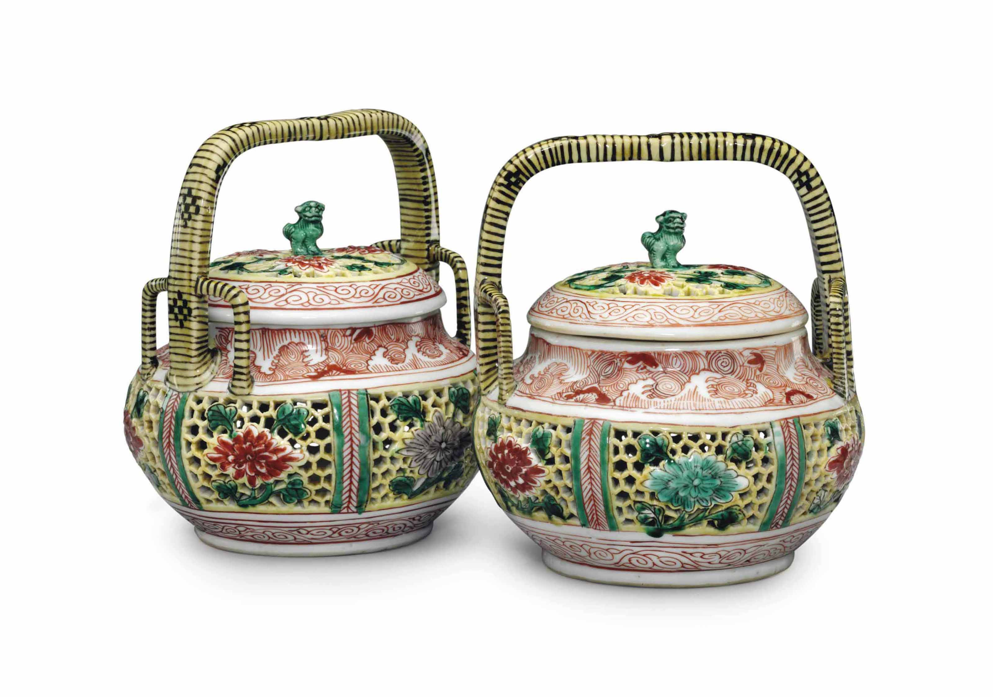 A PAIR OF FAMILLE VERTE BASKET
