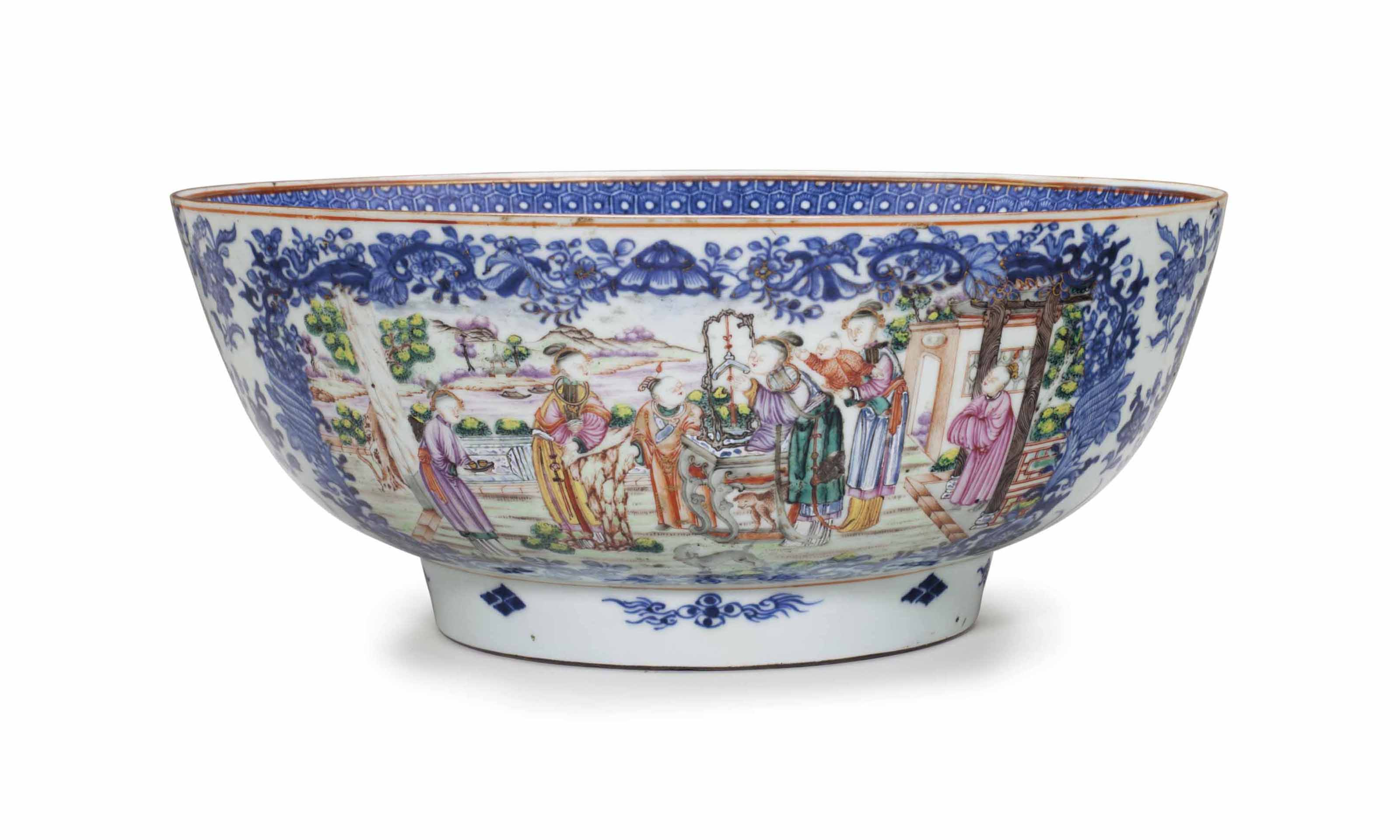 A FAMILLE ROSE PUNCHBOWL