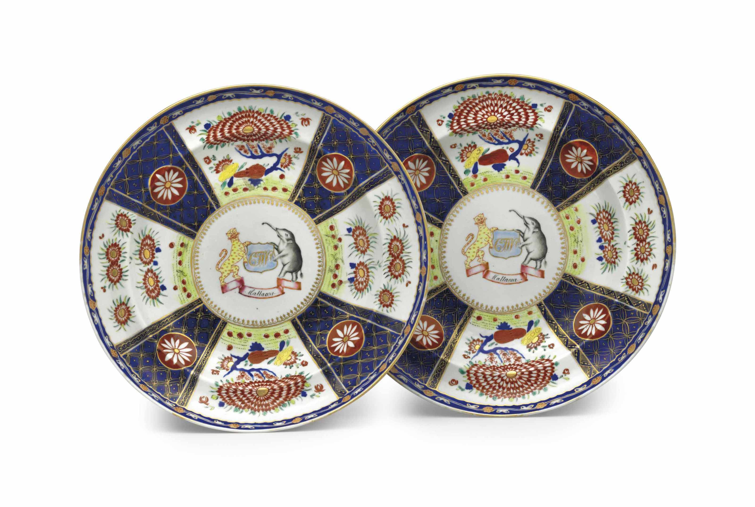 A PAIR OF ARMORIAL PLATES FROM