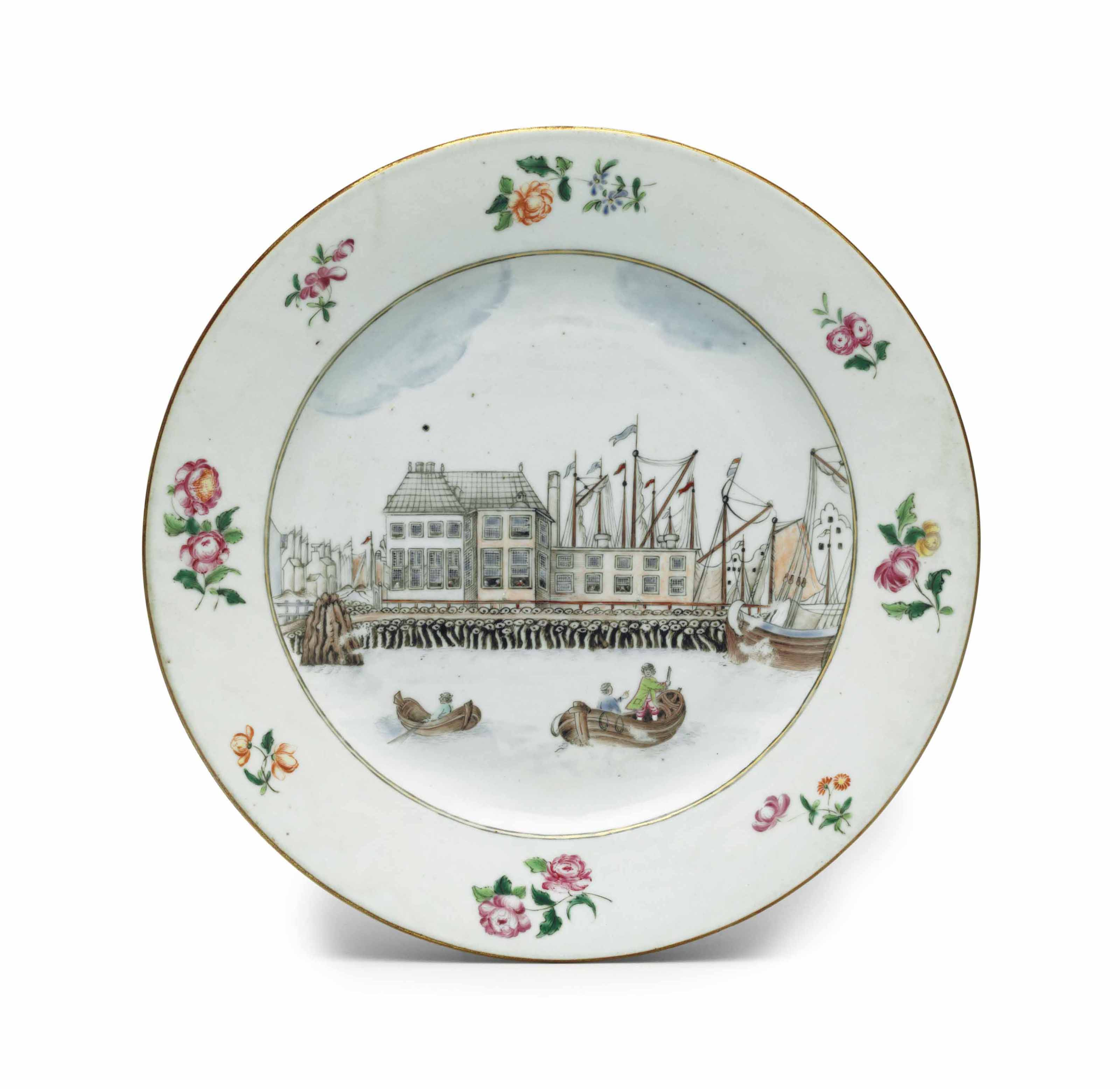 A FAMILLE ROSE TOPOGRAPHICAL PLATE