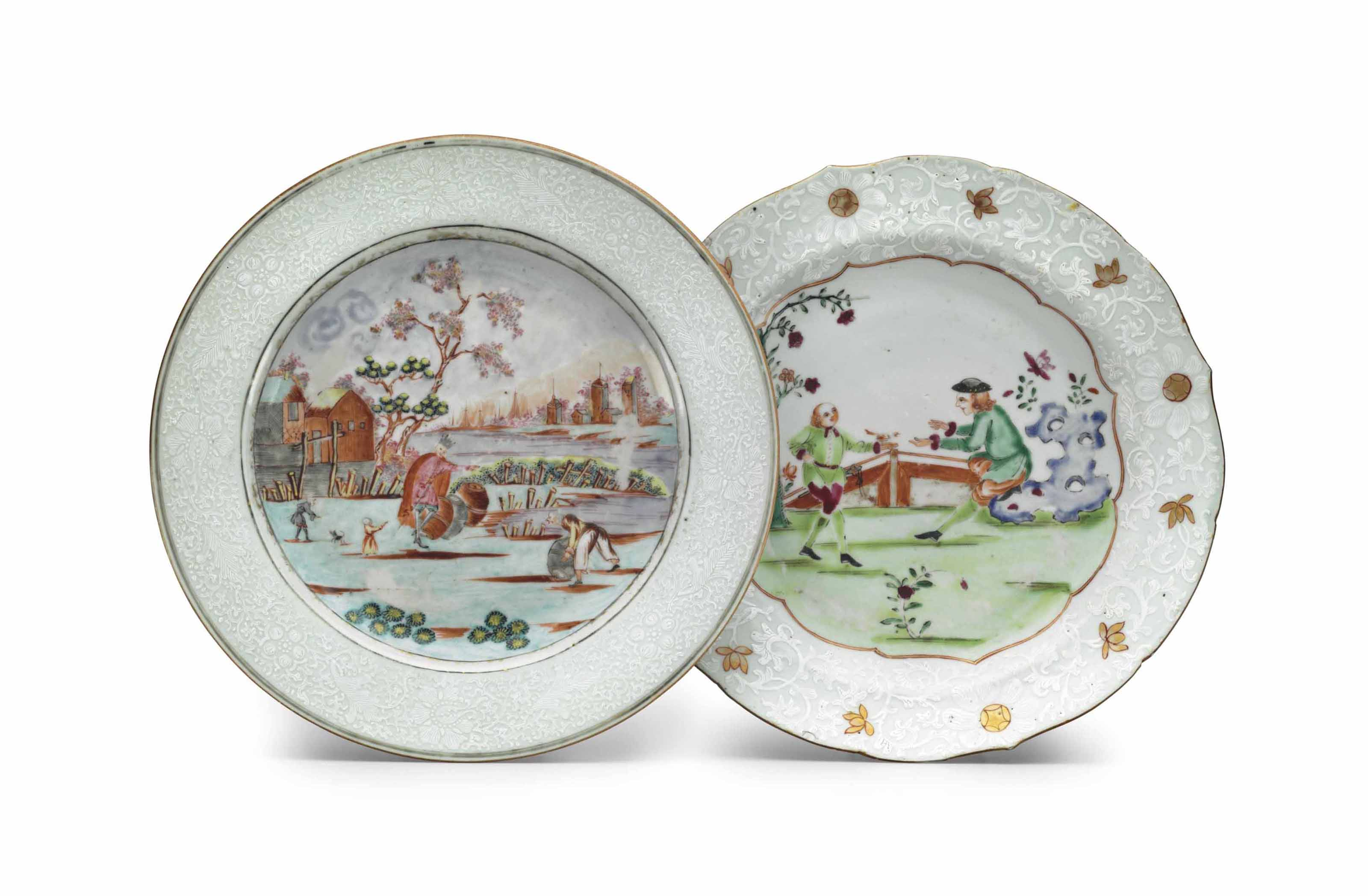TWO EUROPEAN SUBJECT PLATES