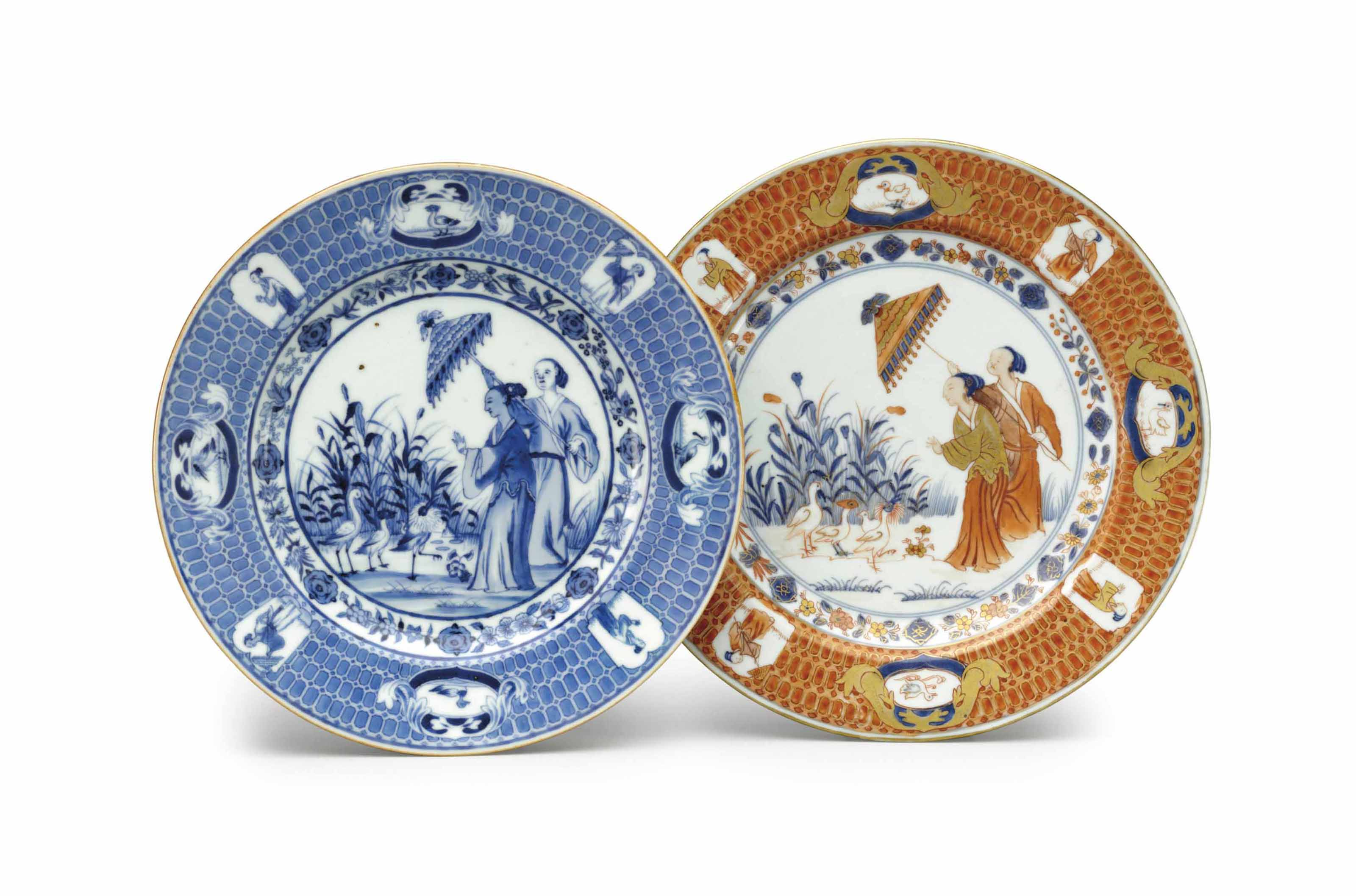 A FAMILLE ROSE PRONK 'DOCTORS' SAUCER DISH