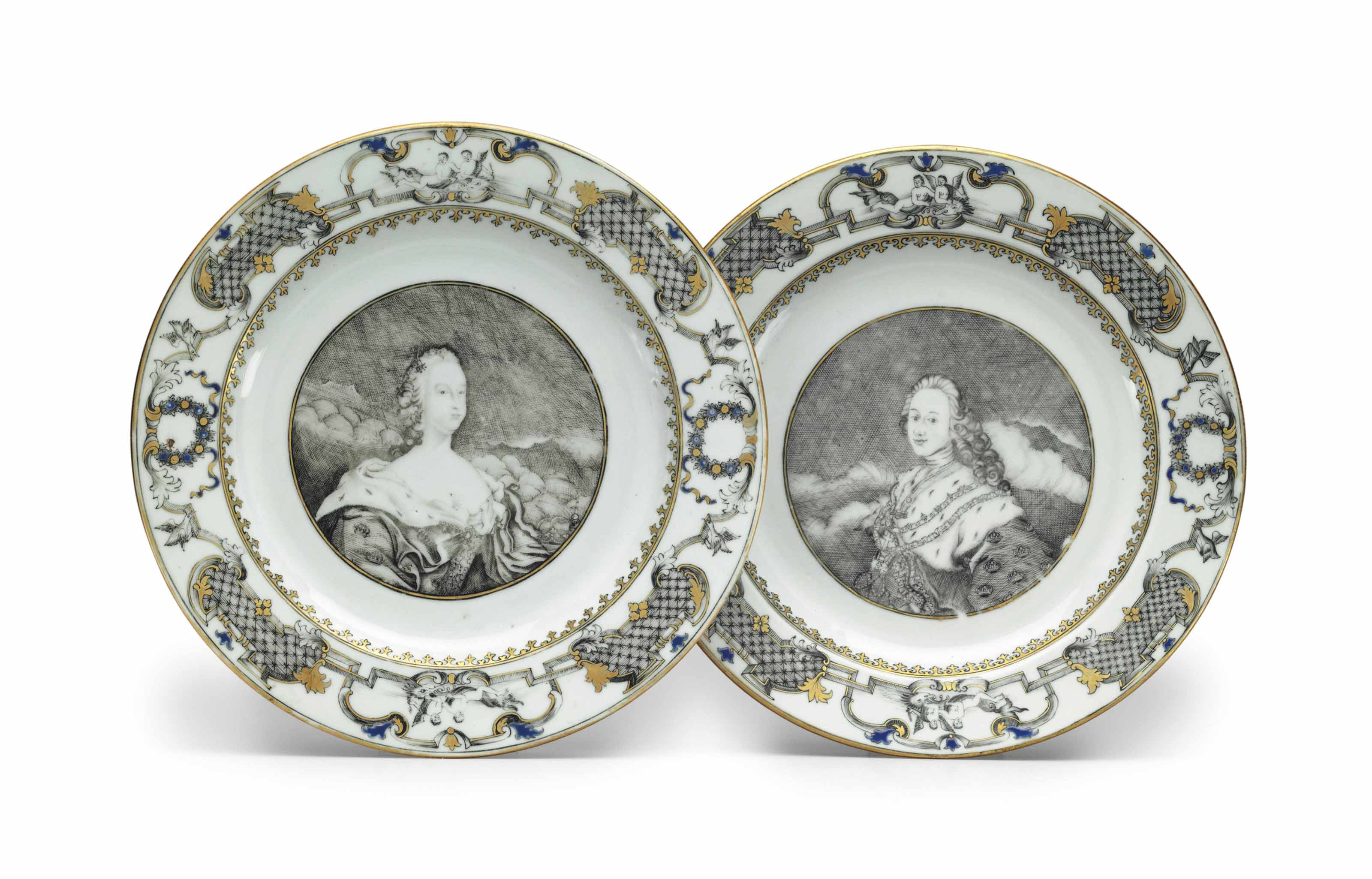 A PAIR OF GRISAILLE AND GILT R