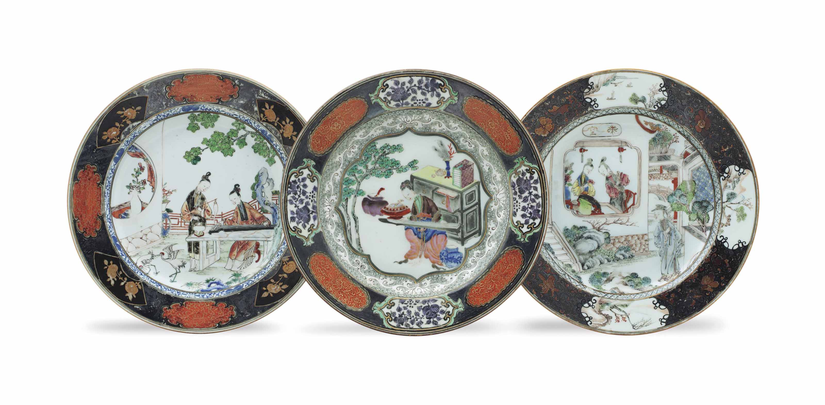 THREE SILVERED AND GILT FAMILLE ROSE PLATES