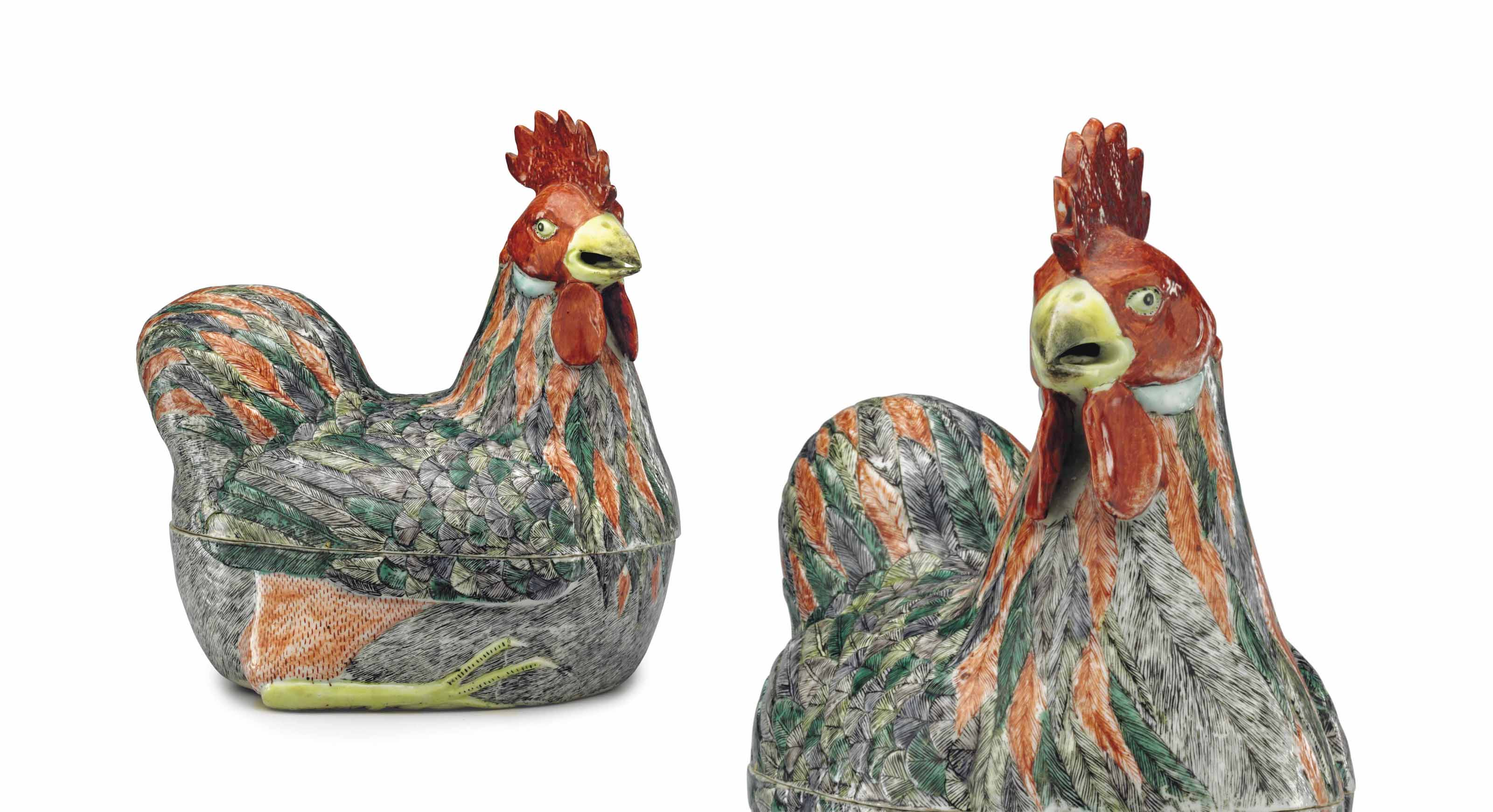 A FAMILLE VERTE ROOSTER TUREEN