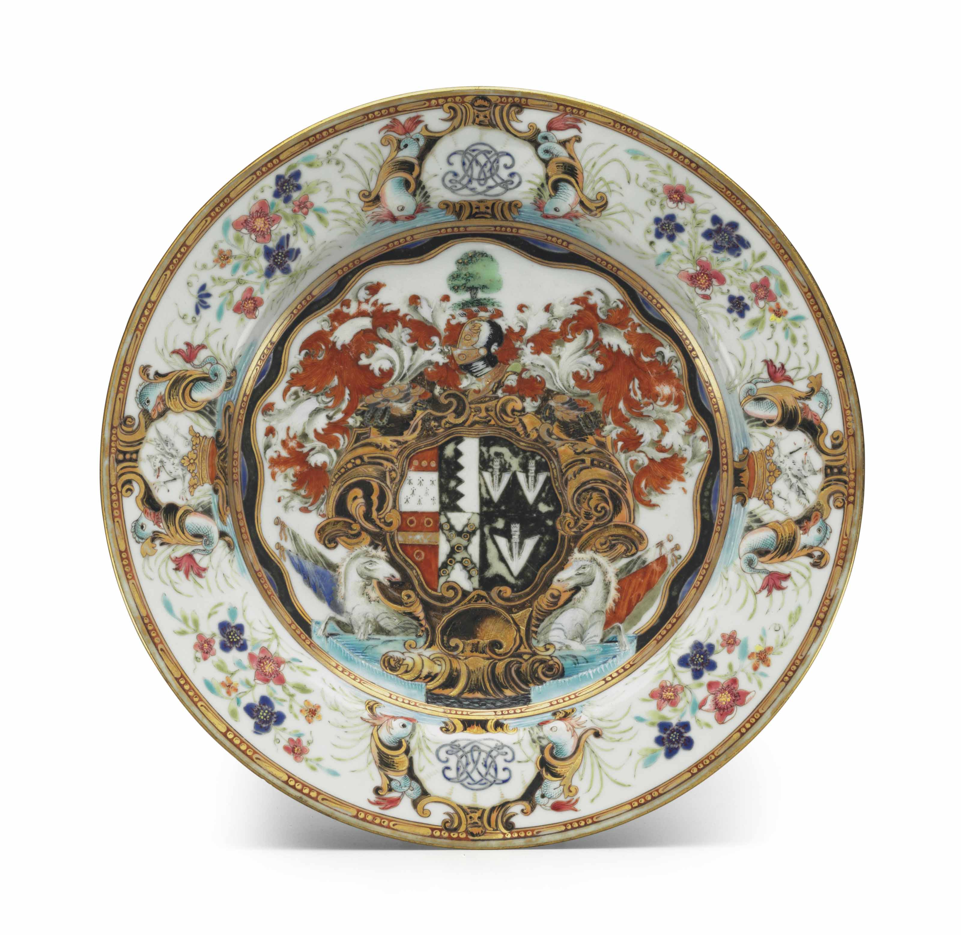 AN OKEOVER ARMORIAL PLATE