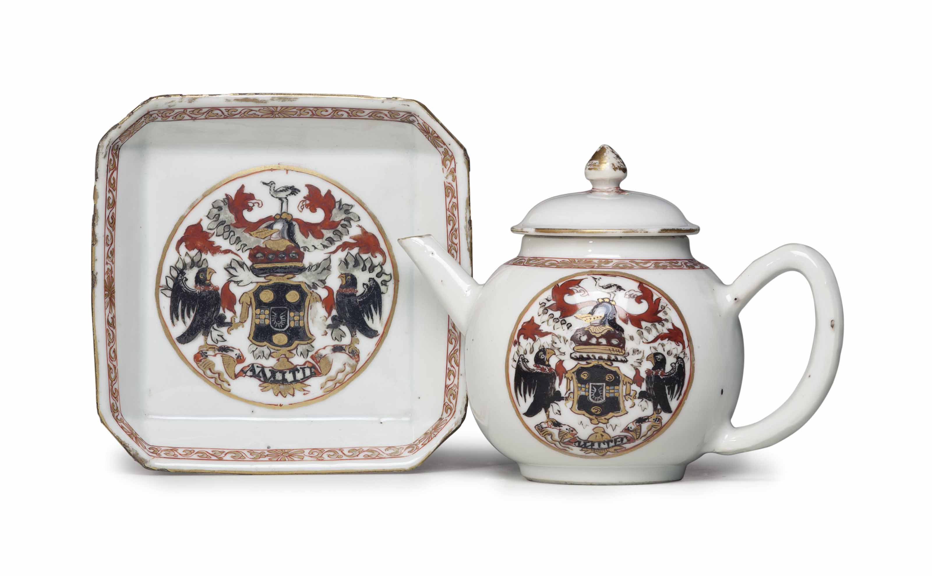 AN ARMORIAL TEAPOT, COVER AND