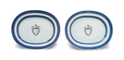 A PAIR OF INITALED OVAL PLATTE