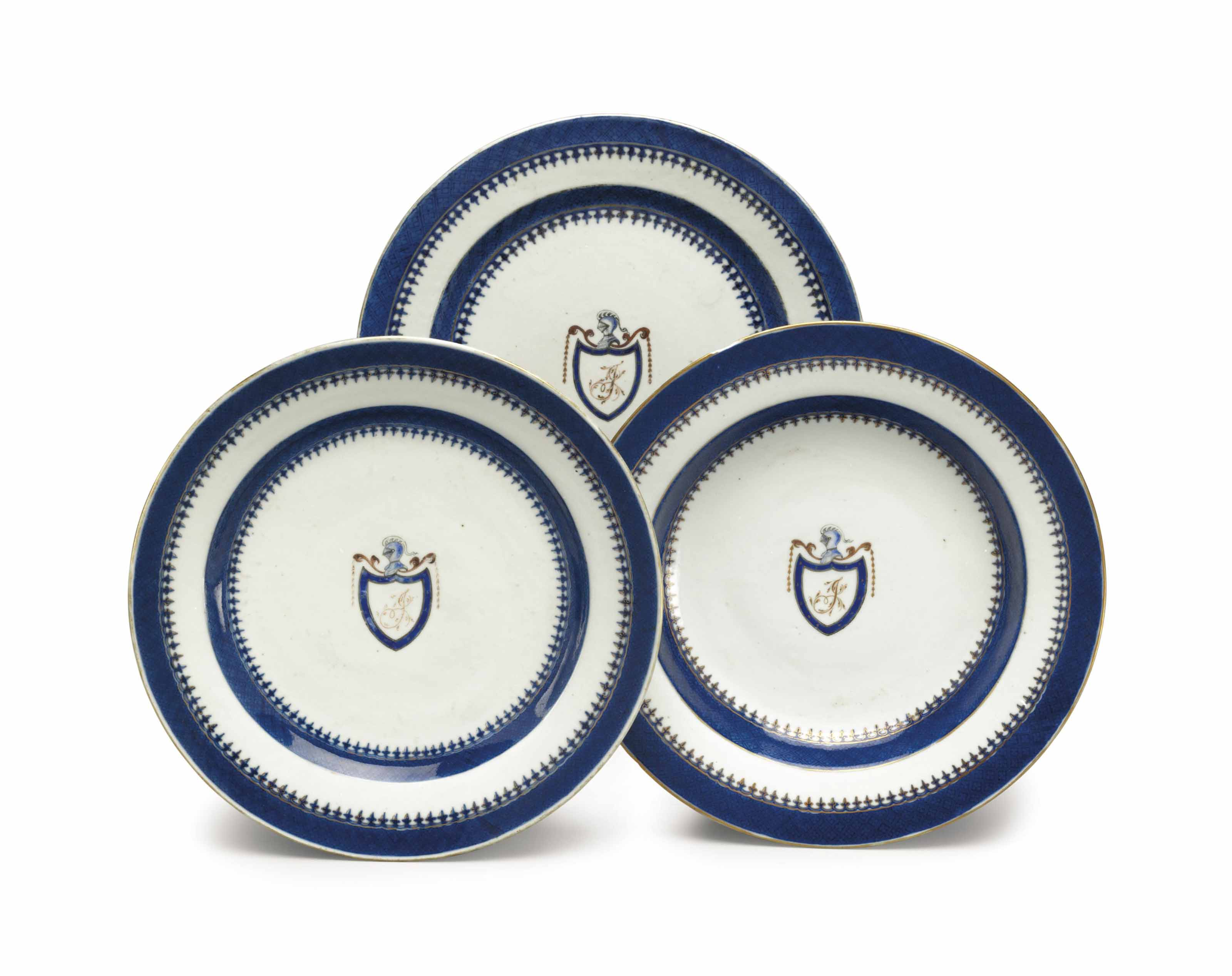 A PAIR OF INITIALED DINNER PLA