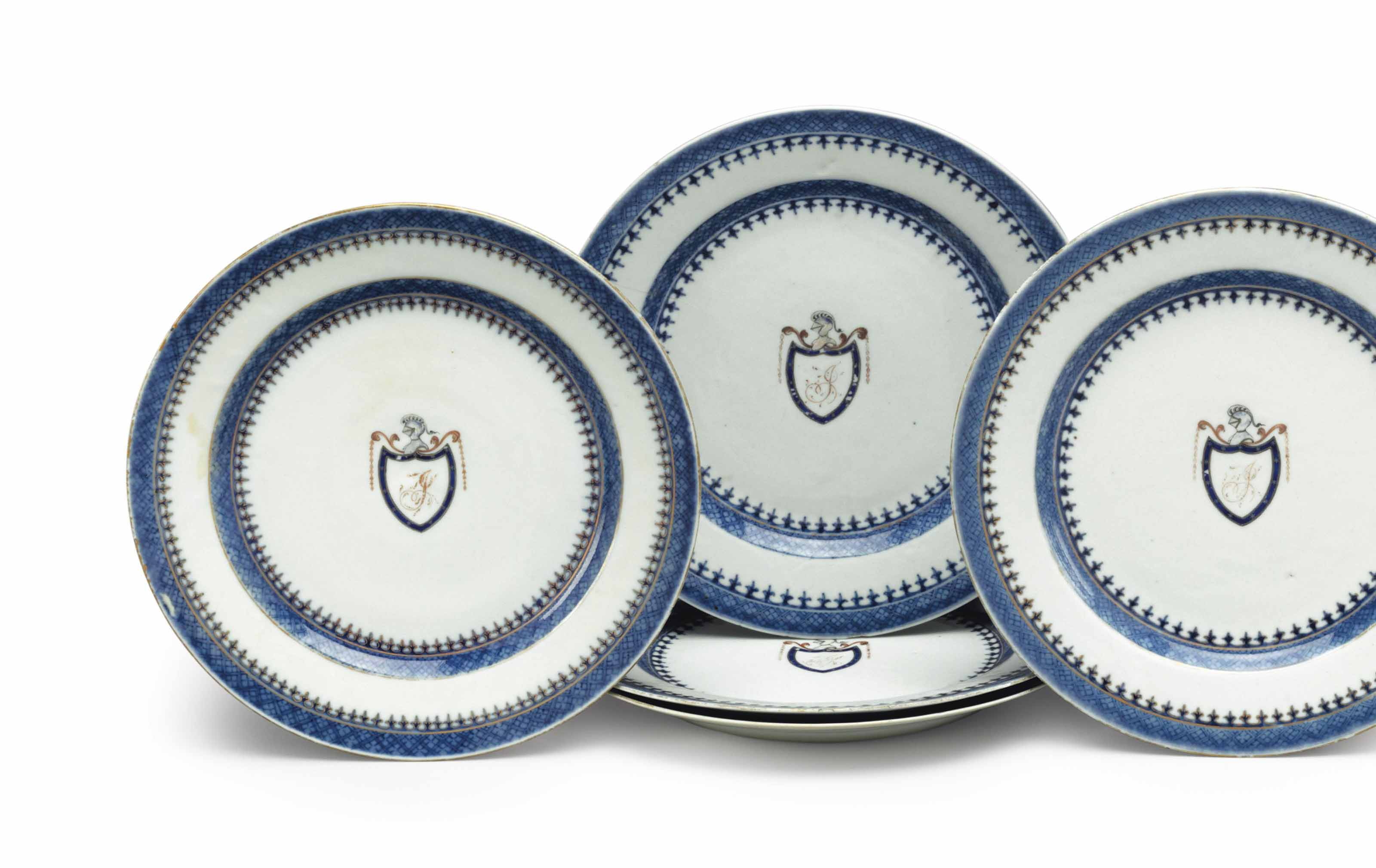 A SET OF FIVE INITIALED DINNER PLATES
