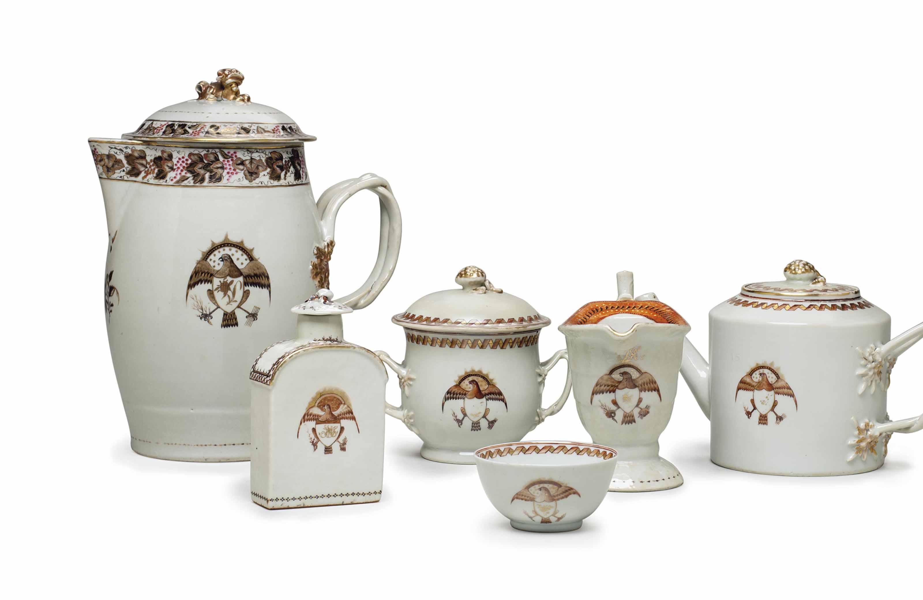 A GROUP OF AMERICAN EAGLE TEA