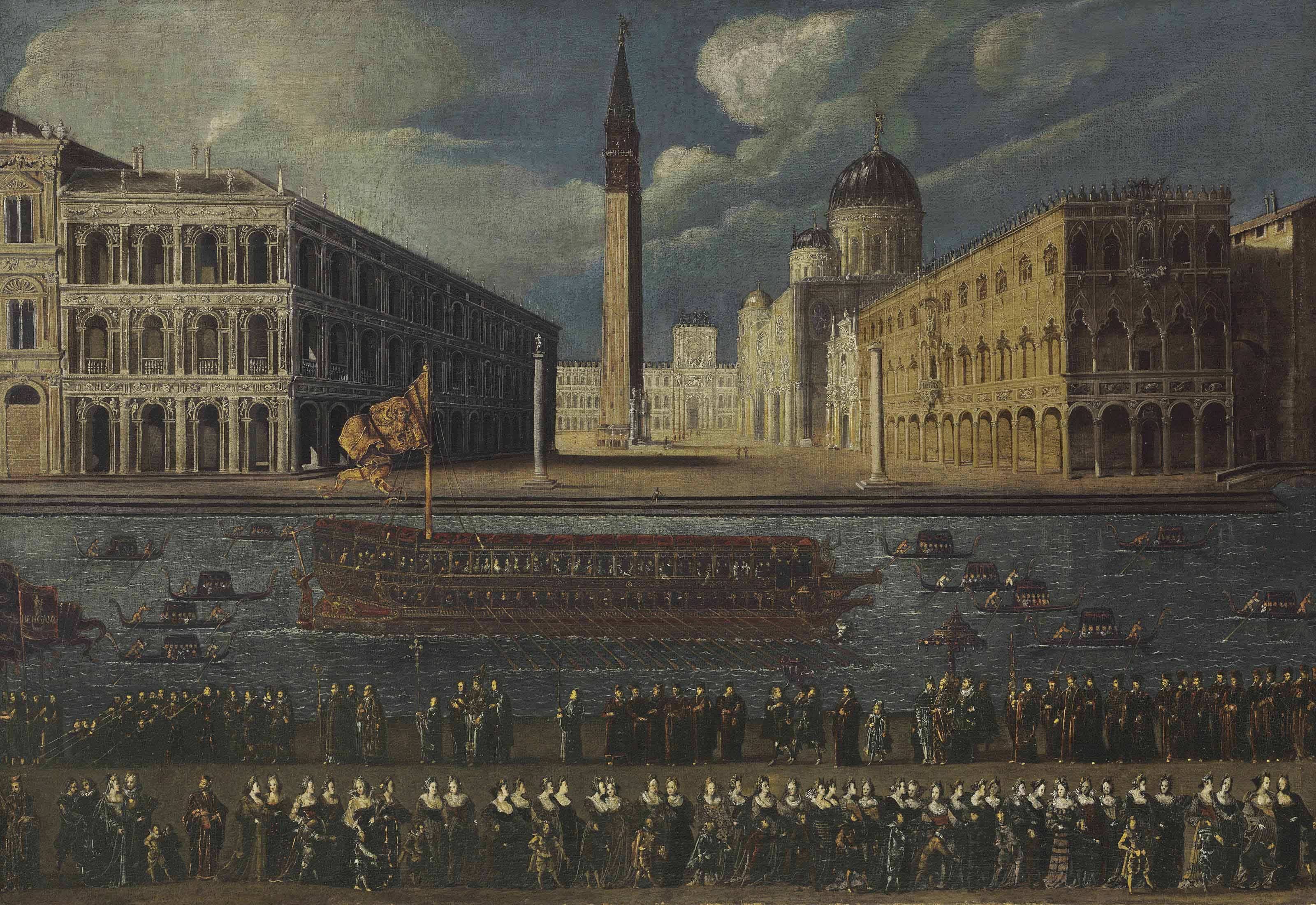 The Molo, Venice, from the Bacino di San Marco, with the departure of the Bucintoro for the Lido on Ascension Day