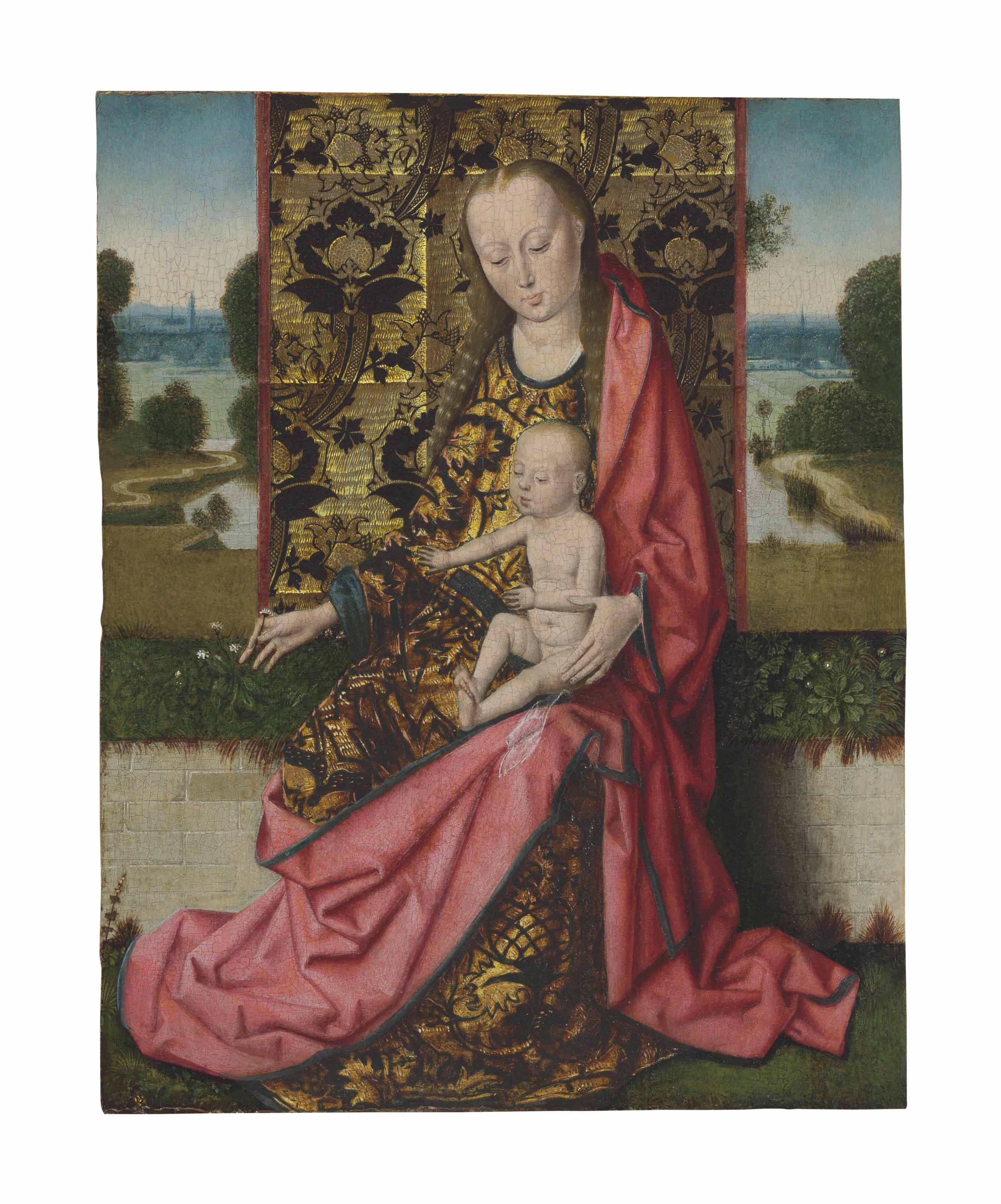 The Virgin and Child before a gold brocaded cloth of honor