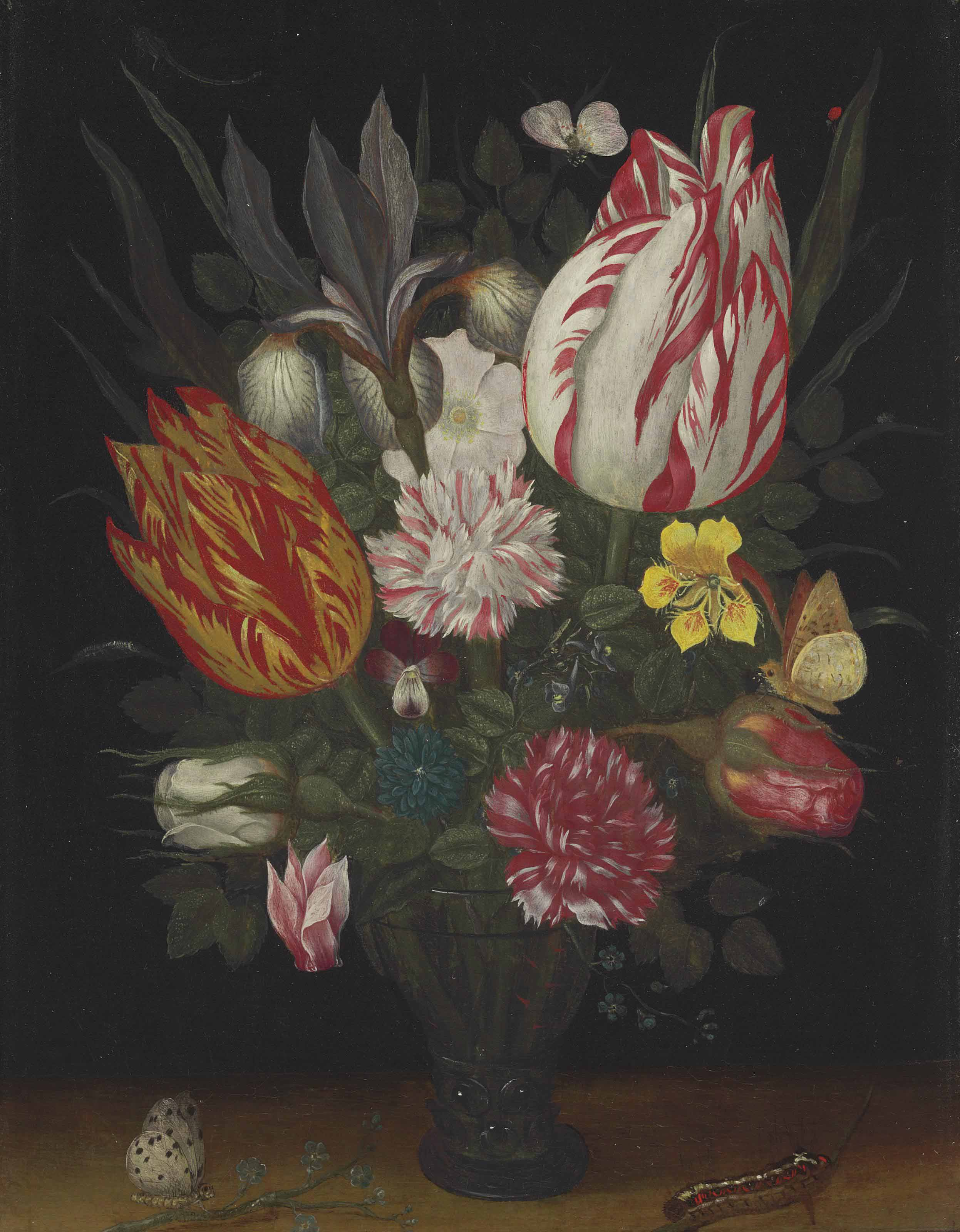 Tulips, carnations, an iris, a dog rose, a cyclamen, roses, a pansy and other flowers in a roemer with a caterpillar and a butterfly