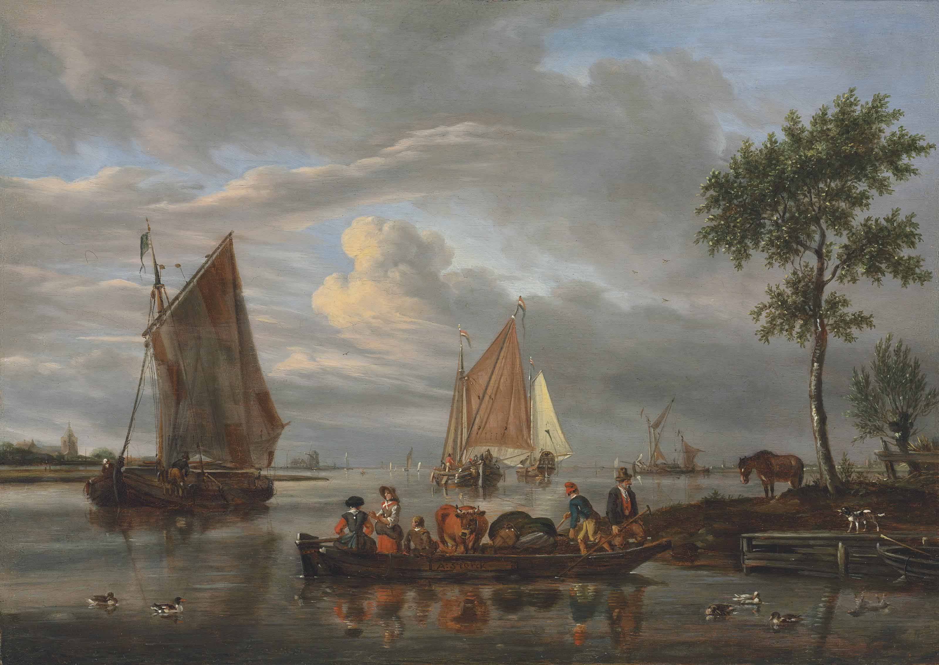 A river landscape with a ferry in the foreground, other shipping beyond