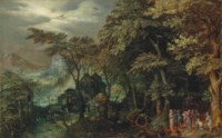 An extensive wooded landscape with Christ healing the lame man, a village and a town by the mountains beyond