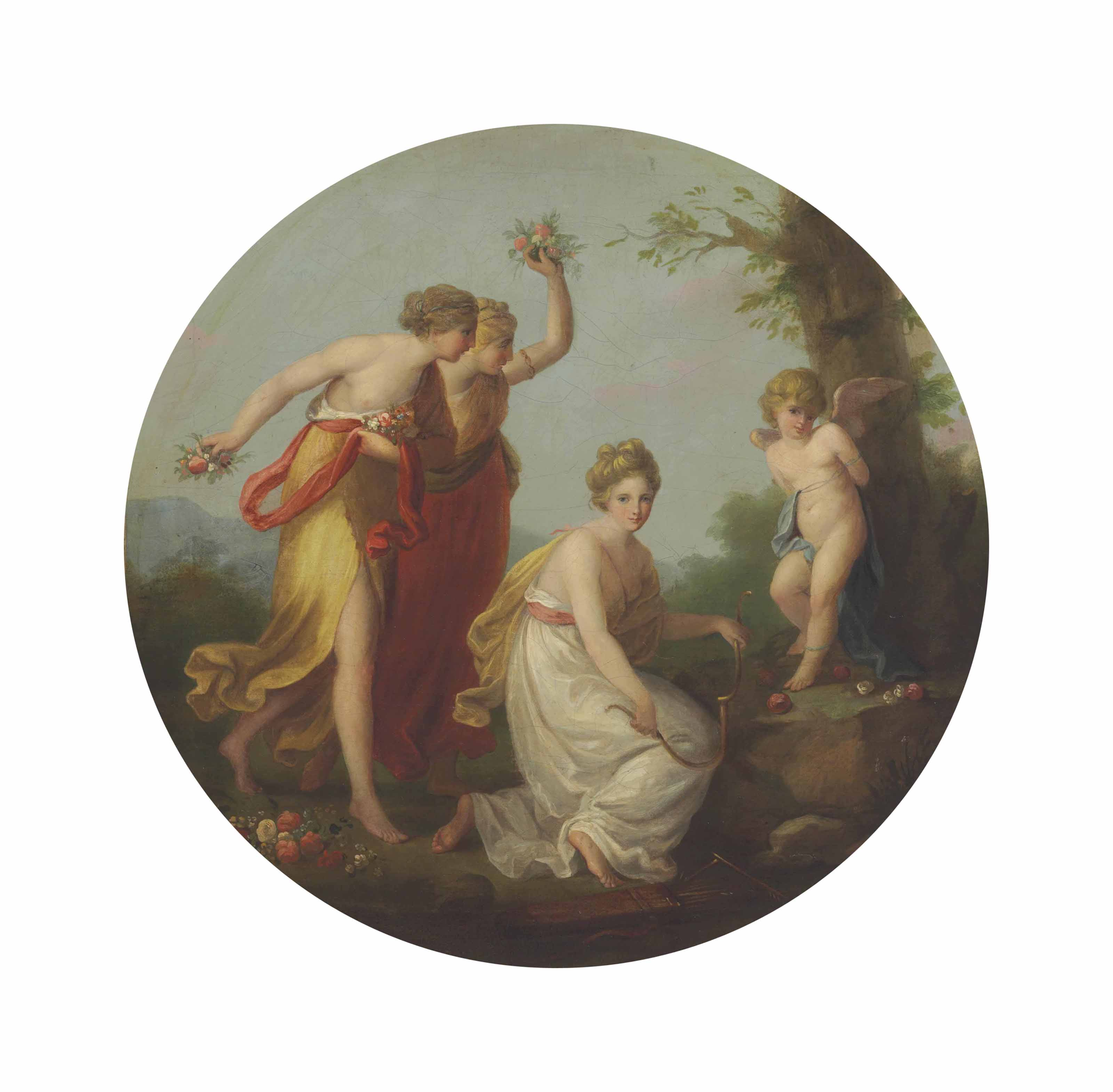 The Three Graces distressing Cupid