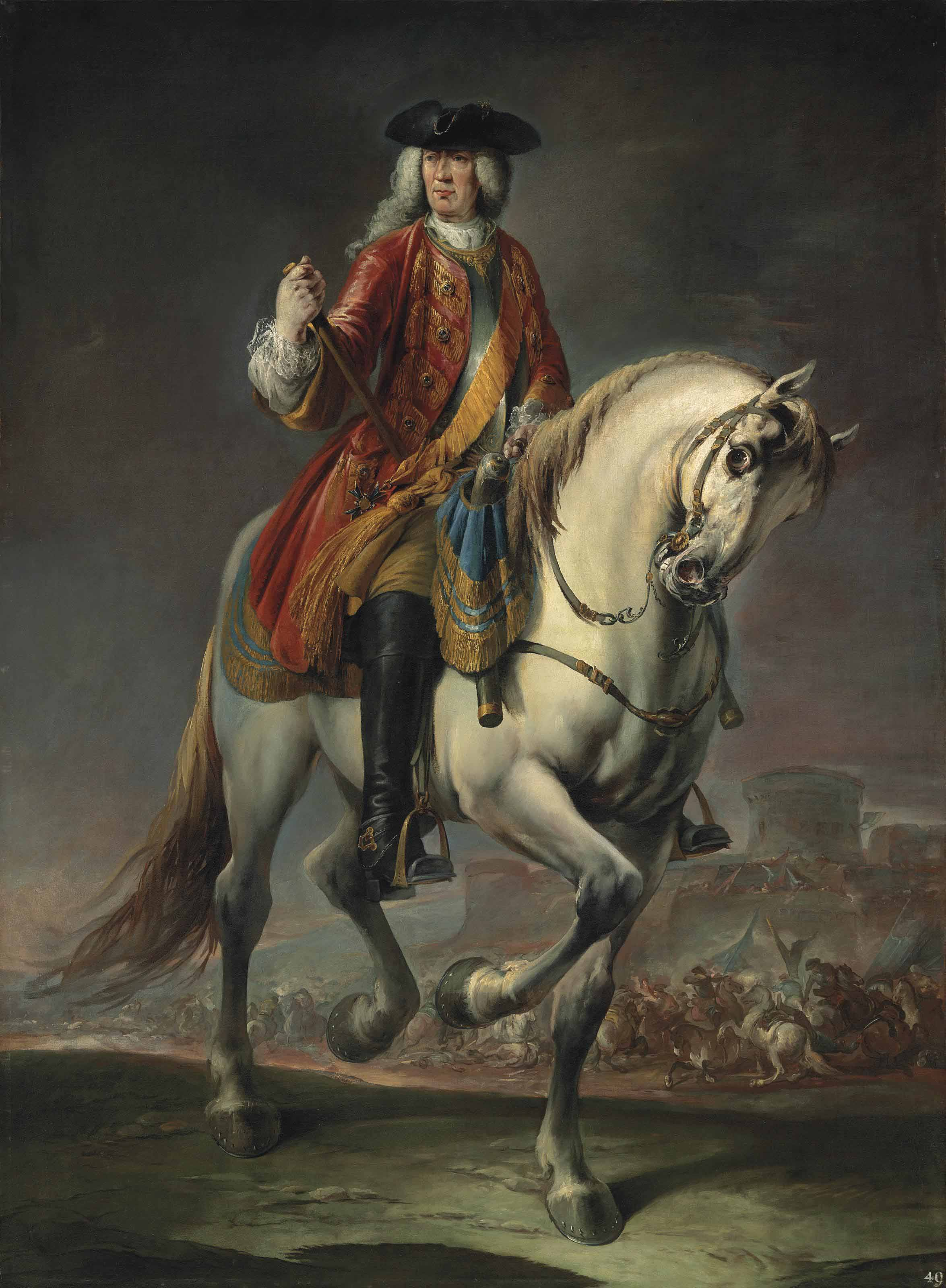Equestrian portrait of Field Marshal Count Johann Matthias von der Schulenburg, full-length, in a red coat and a breastplate, on a grey mare, before a siege