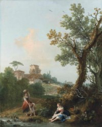 A wooded river landscape with a boy fishing and two peasant women, a village beyond