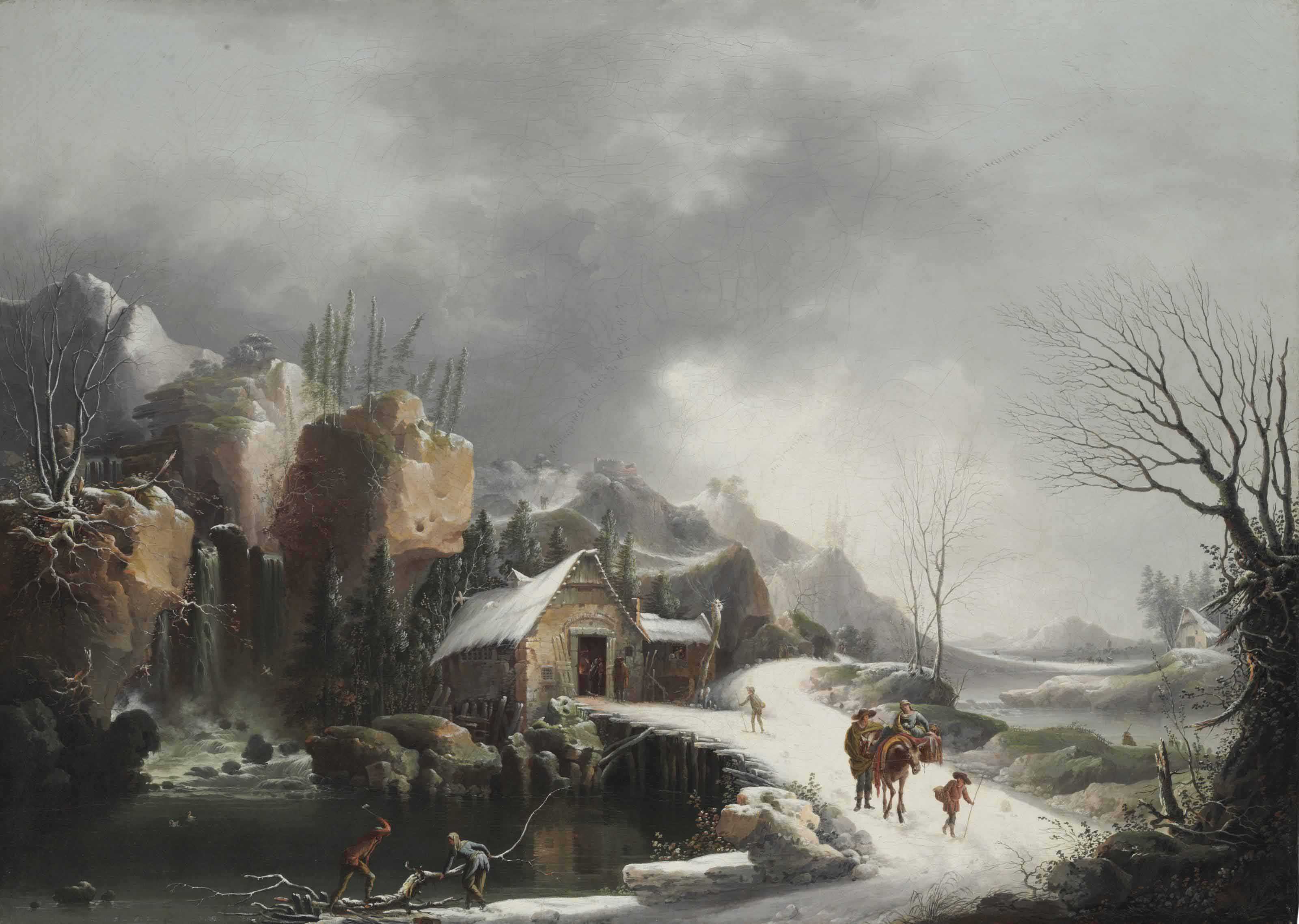 A winter landscape with travelers on a snowy path