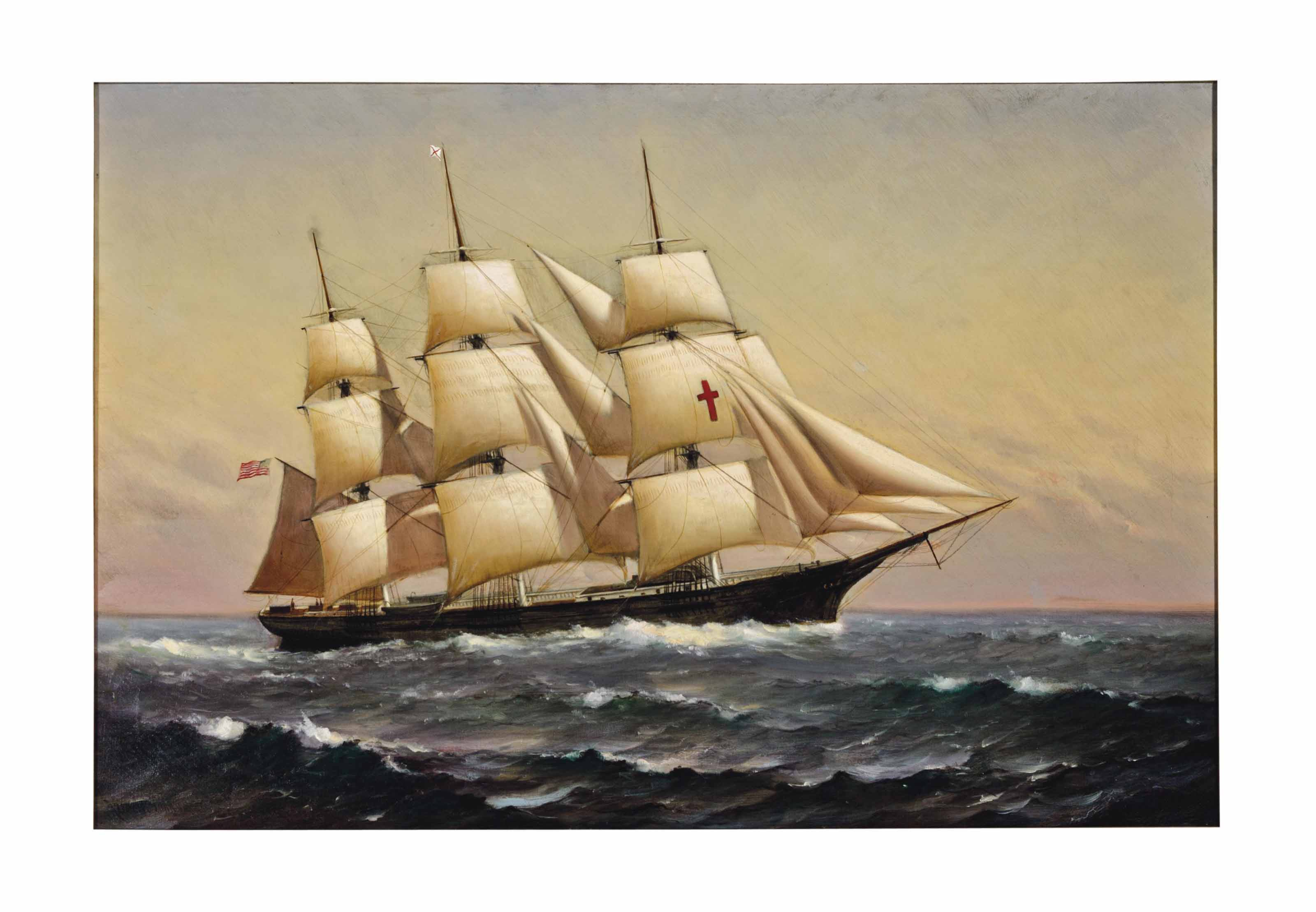 A three-masted schooner