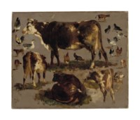 Studies of Cows, Hens, Roosters, a Goose and a Sheep