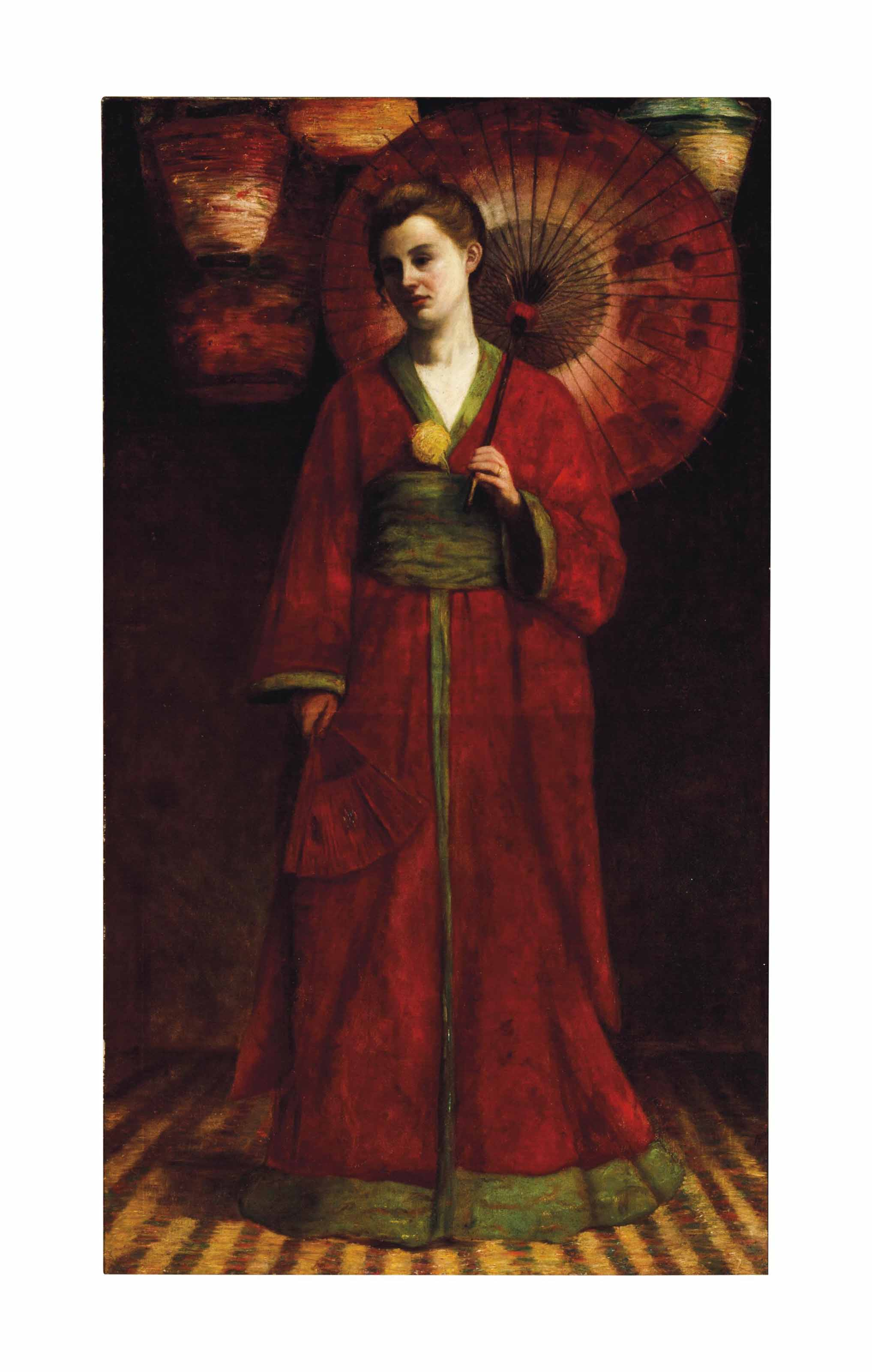 Portrait of a standing woman in a red kimono