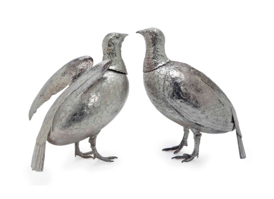 A PAIR OF GERMAN SILVER DECANT