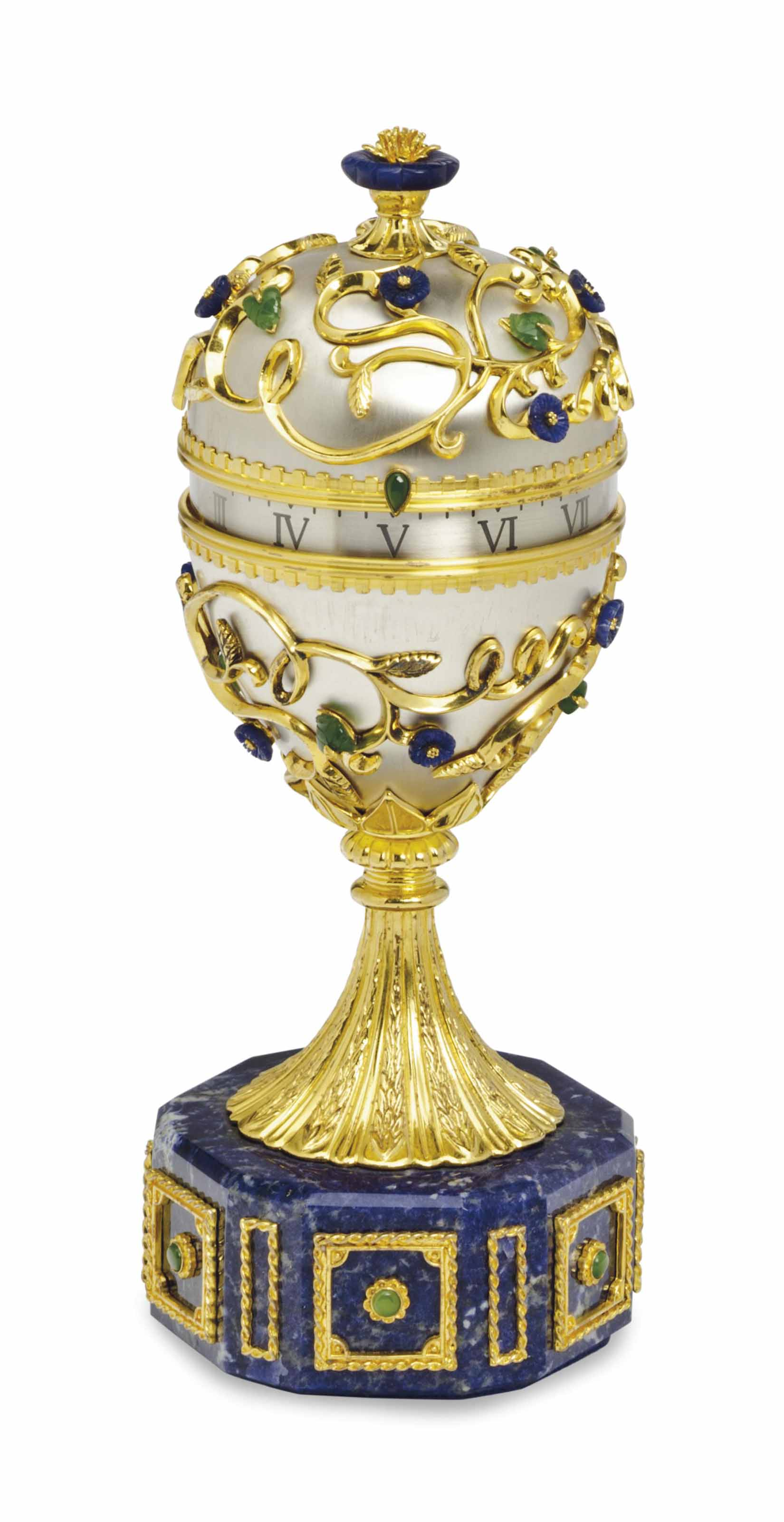 A FABERGE-STYLE HARDSTONE AND