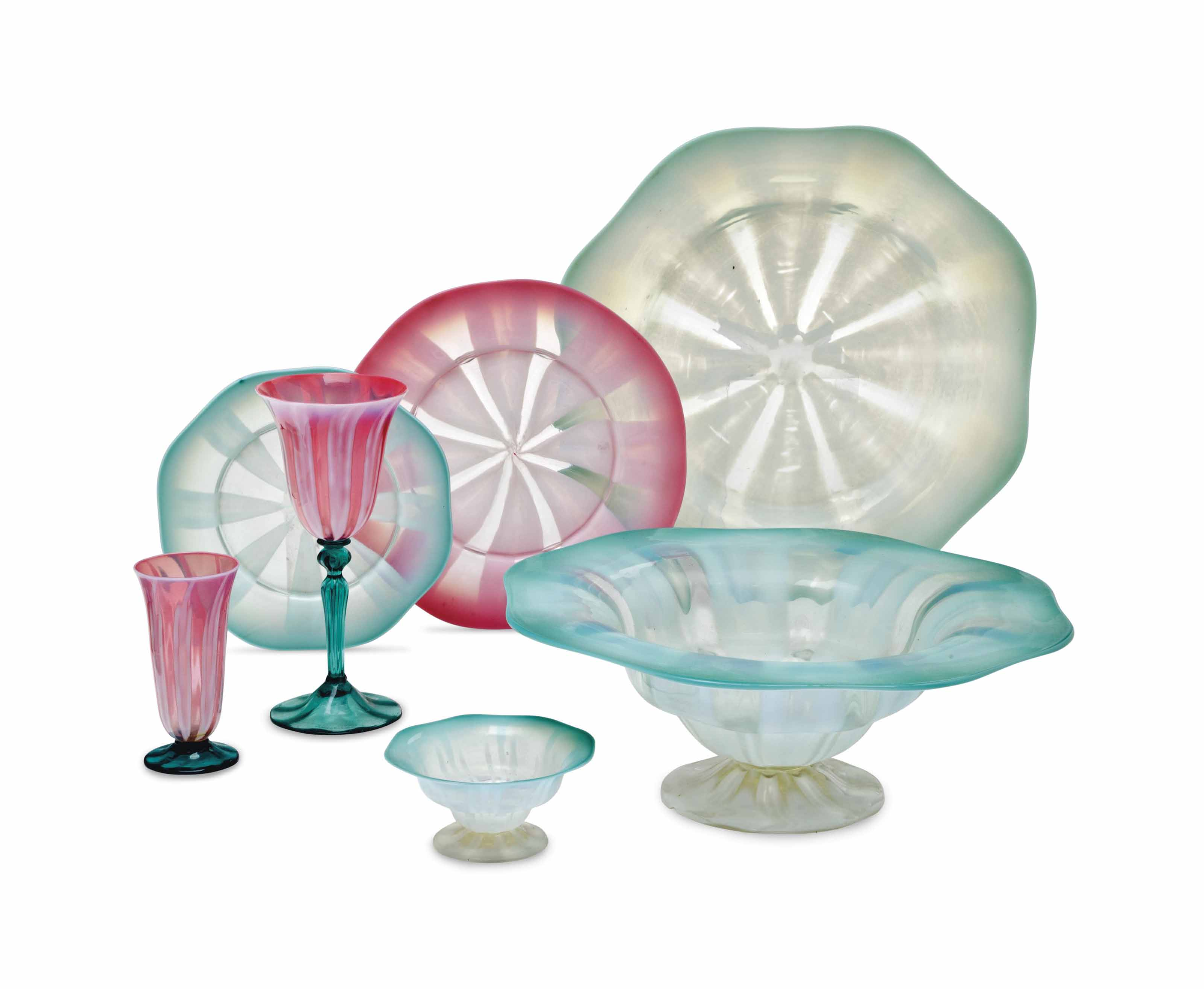 AN ASSEMBLED AMERICAN GREEN PASTEL FAVRILE GLASS DESSERT SERVICE, AND A PINK PASTEL FAVRILE GLASS PART TABLE SERVICE,