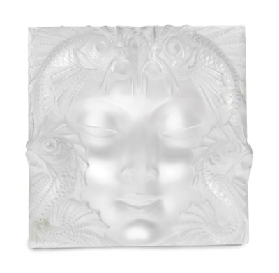 A FRENCH MOLDED FROSTED GLASS